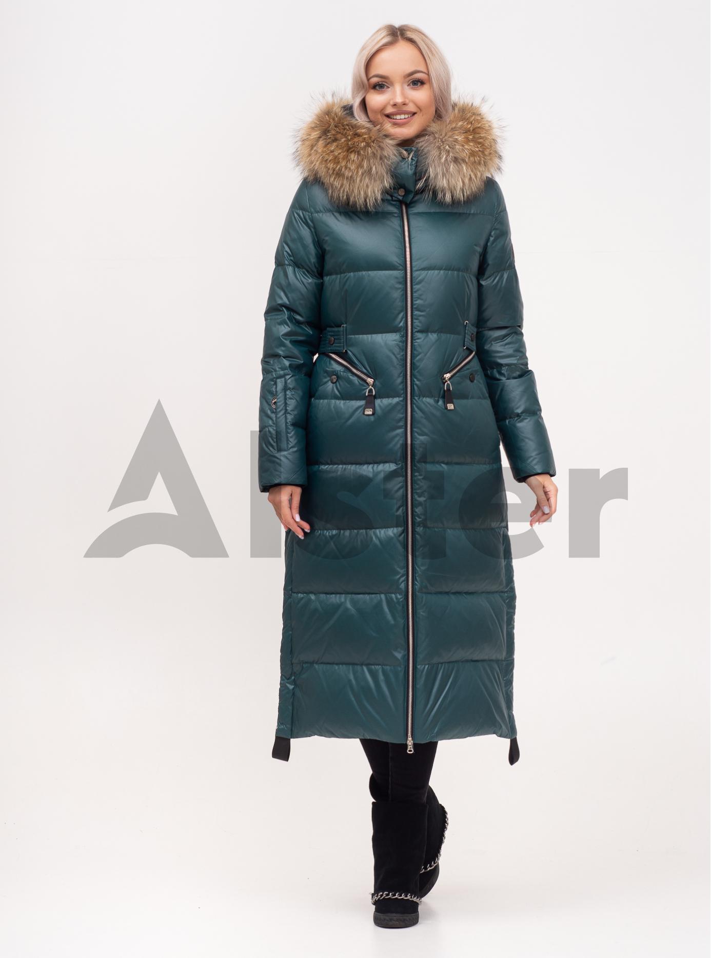 Пуховик зимовий довгий на блискавці з хутром єнота Смарагд S (01-N200457): фото - Alster.ua