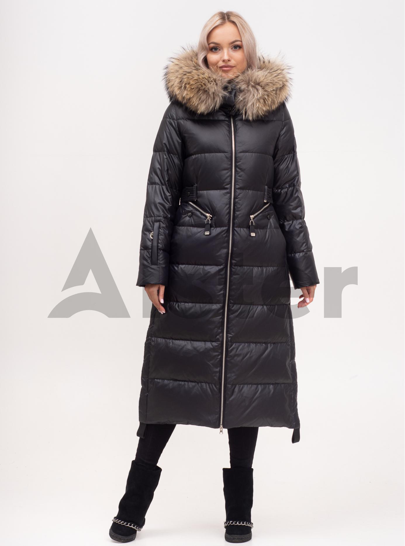 Пуховик зимний длинный на молнии с мехом енота Чёрный S (01-N200465): фото - Alster.ua