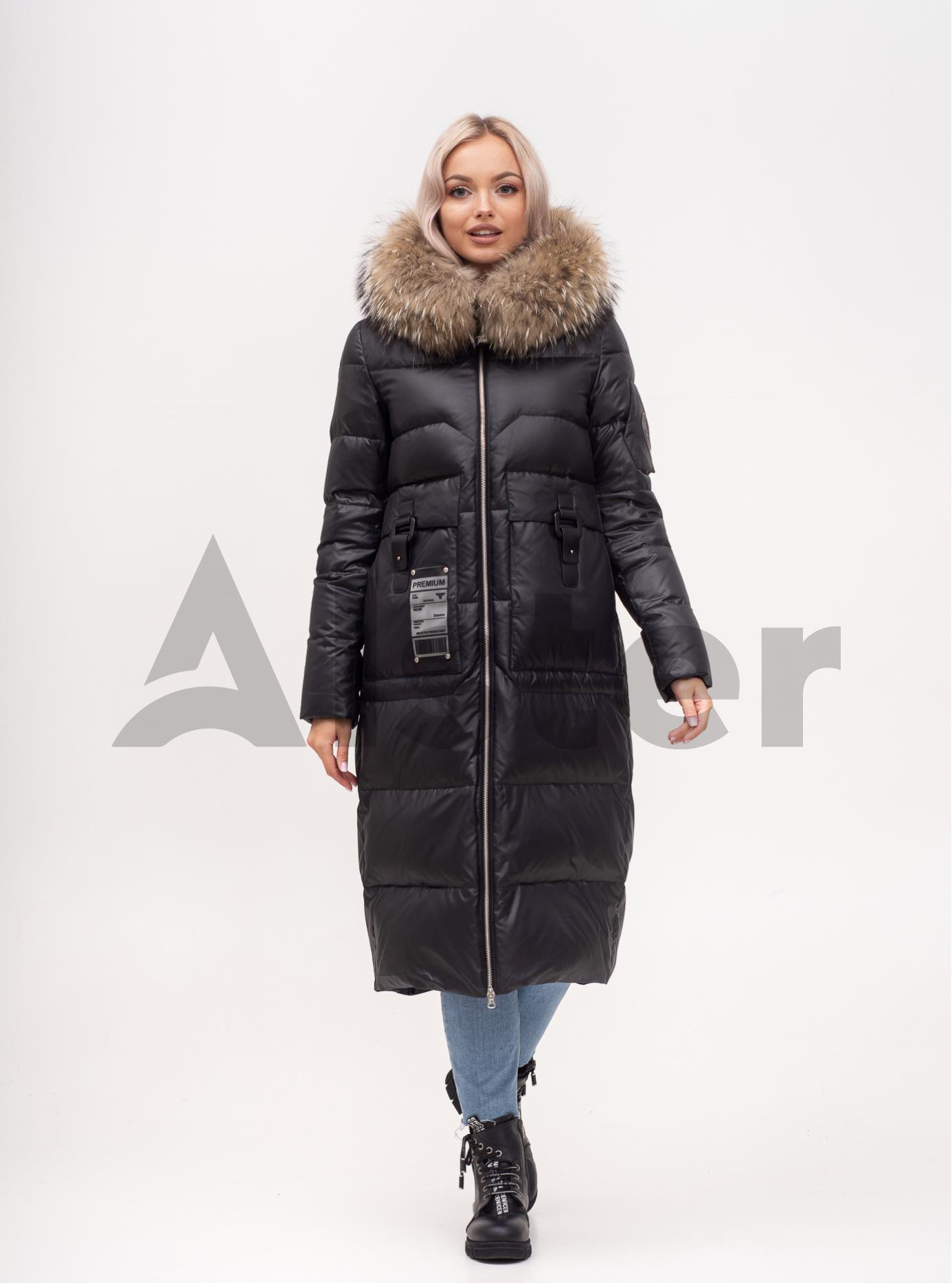 Пуховик зимний длинный с мехом енота Светло-коричневый S (01-210177): фото - Alster.ua