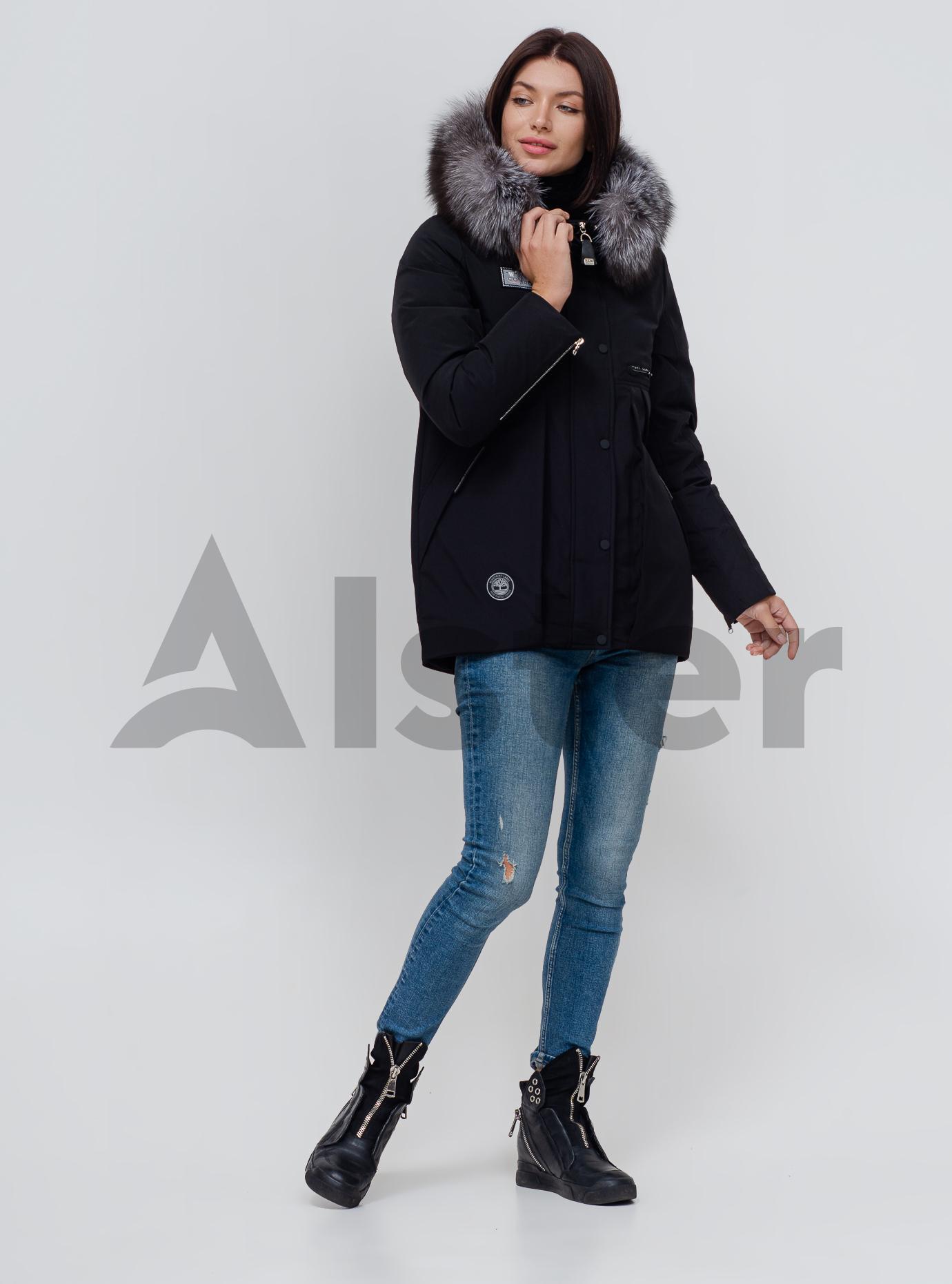 Пуховик зимовий з хутром лисиці Чорний S (02-N200441): фото - Alster.ua