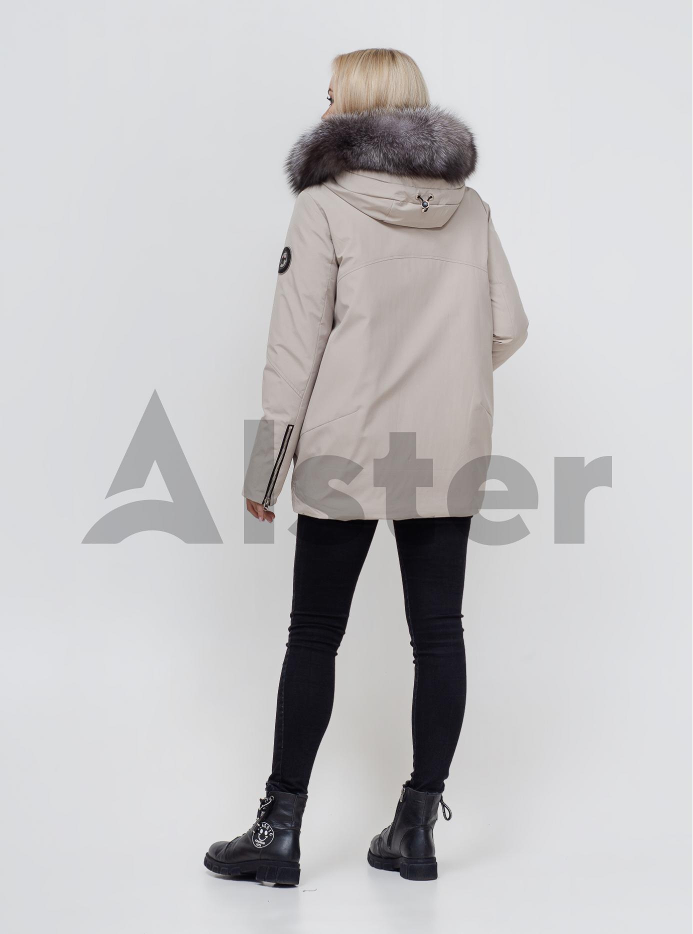 Пуховик зимовий з хутром лисиці Світло-бежевий S (02-N200429): фото - Alster.ua