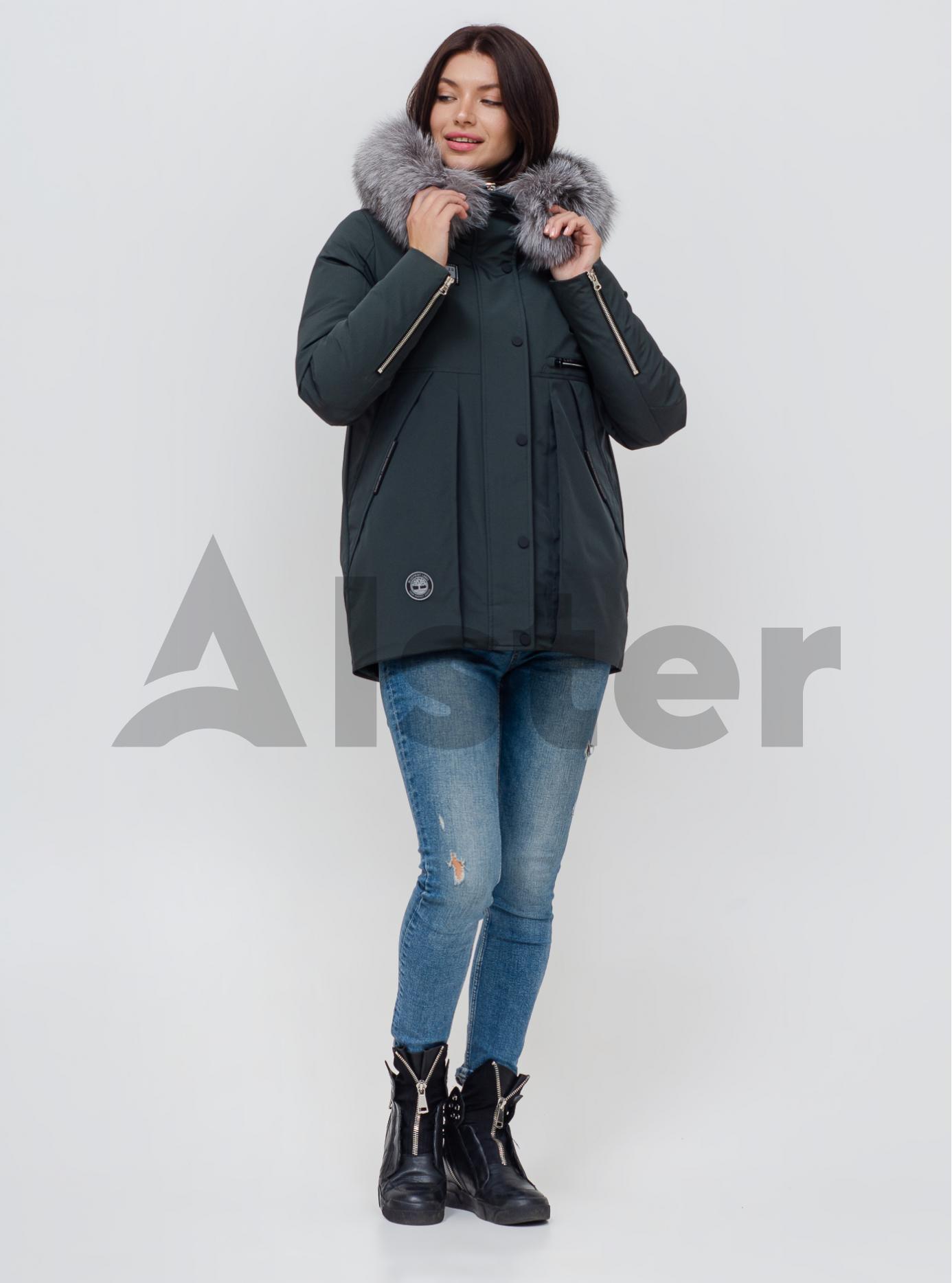 Пуховик зимовий з хутром лисиці Смарагдовий S (02-N200437): фото - Alster.ua