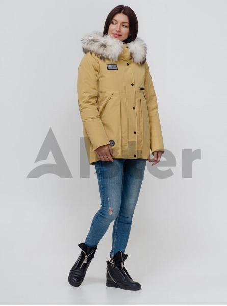 Пуховик зимовий з хутром лисиці