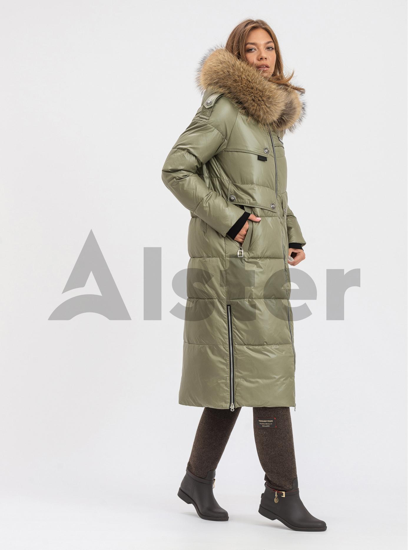 Пуховик жіночий довгий з капюшоном Vo-Tarun Сіро-зелений M (VT022-840-01): фото - Alster.ua