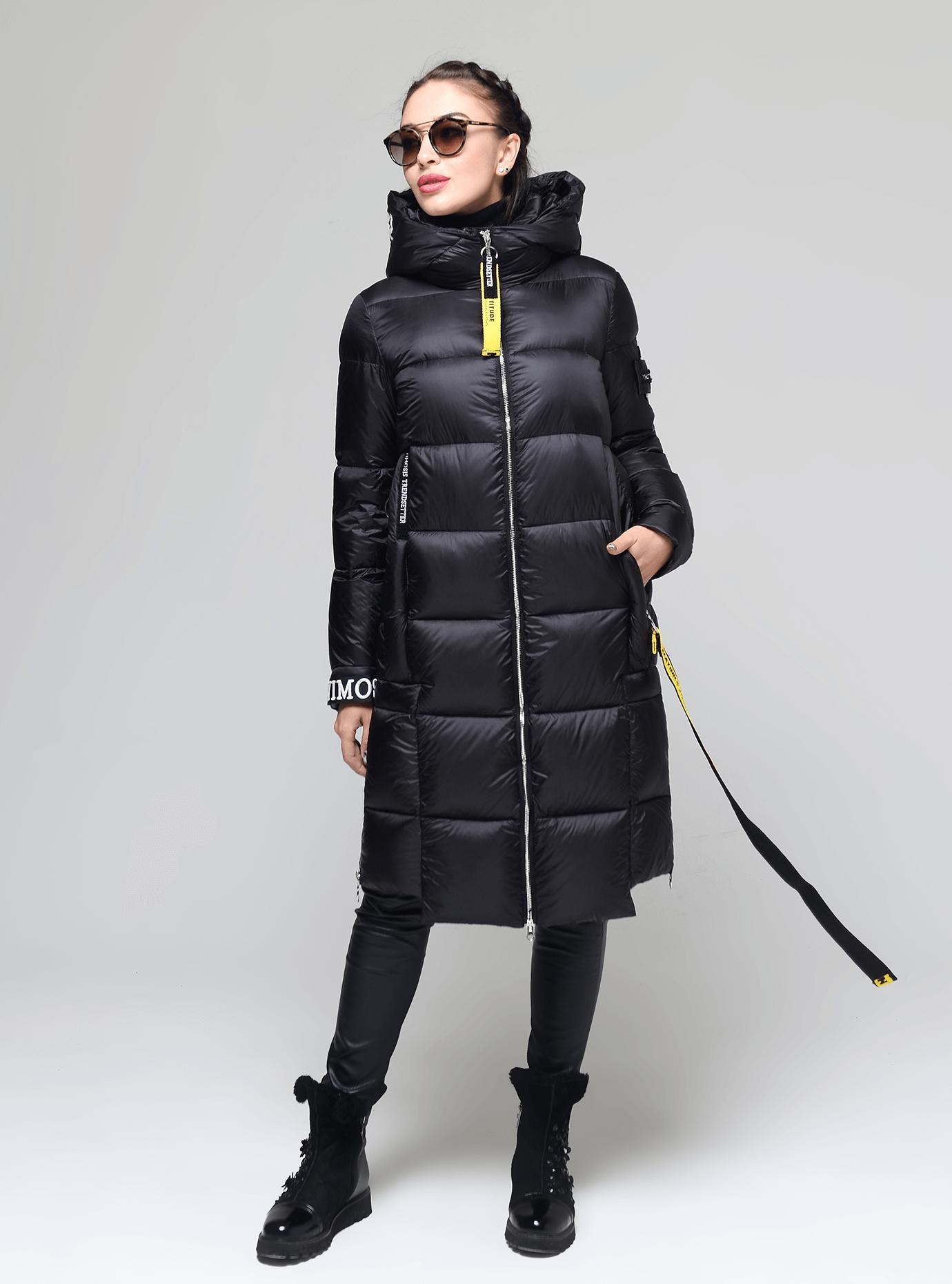 Пуховик женский длинный с тесьмой Чёрный M (02-Y191136): фото - Alster.ua
