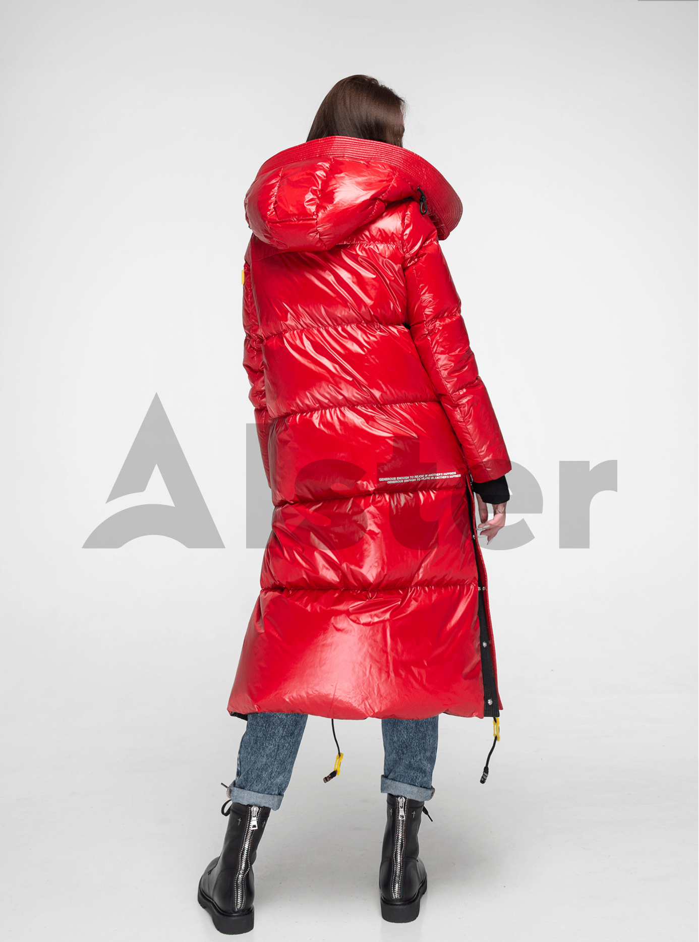 Пуховик женский длинный Красный M (02-Y191096): фото - Alster.ua