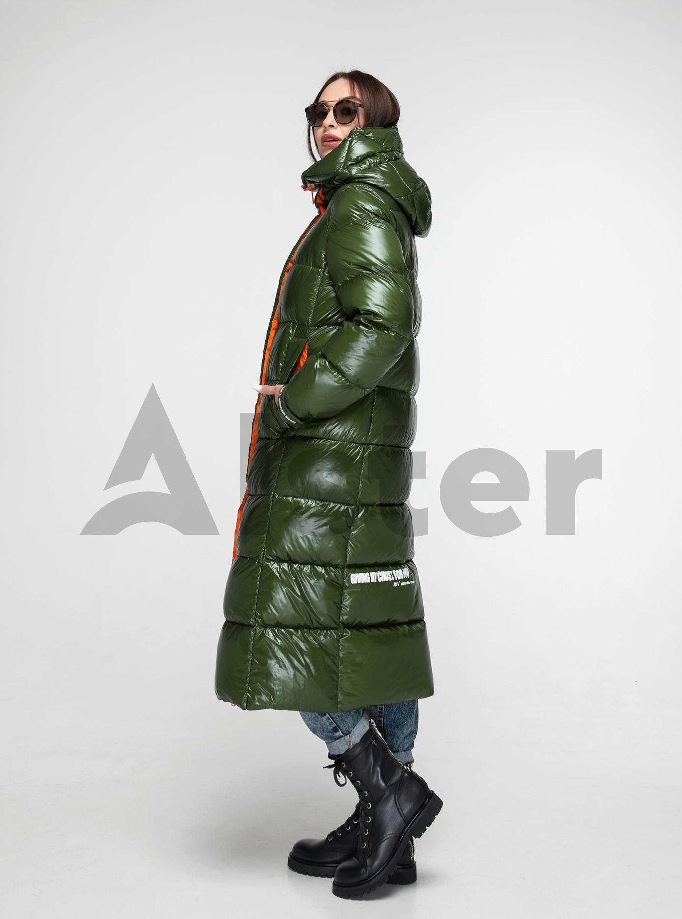 Пуховик женский длинный прямой Зеленый S (02-Y191099): фото - Alster.ua