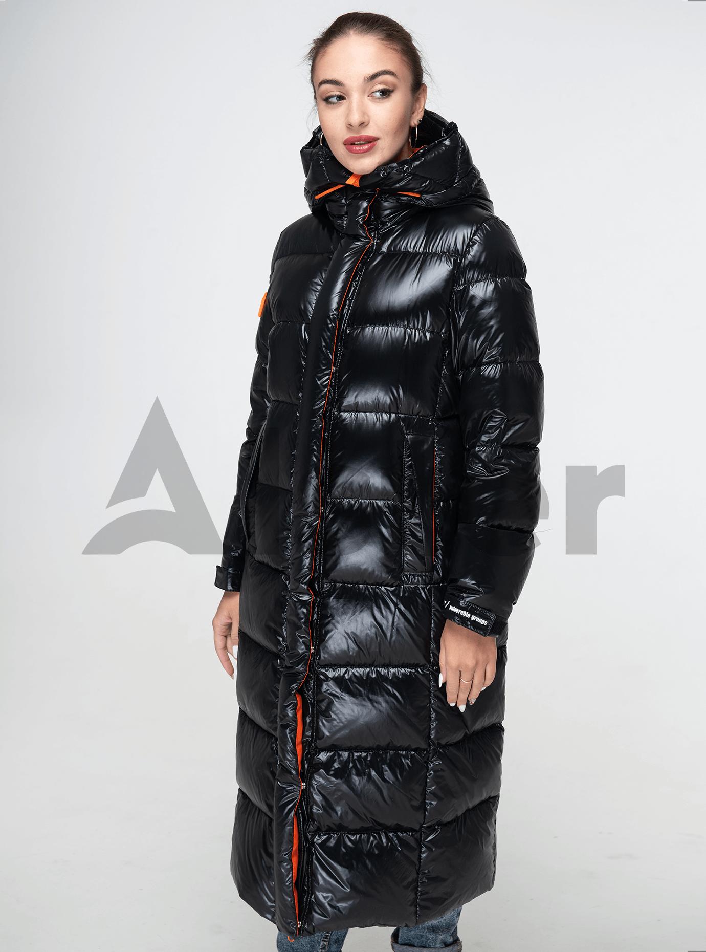 Пуховик женский длинный прямой Чёрный S (02-Y191102): фото - Alster.ua