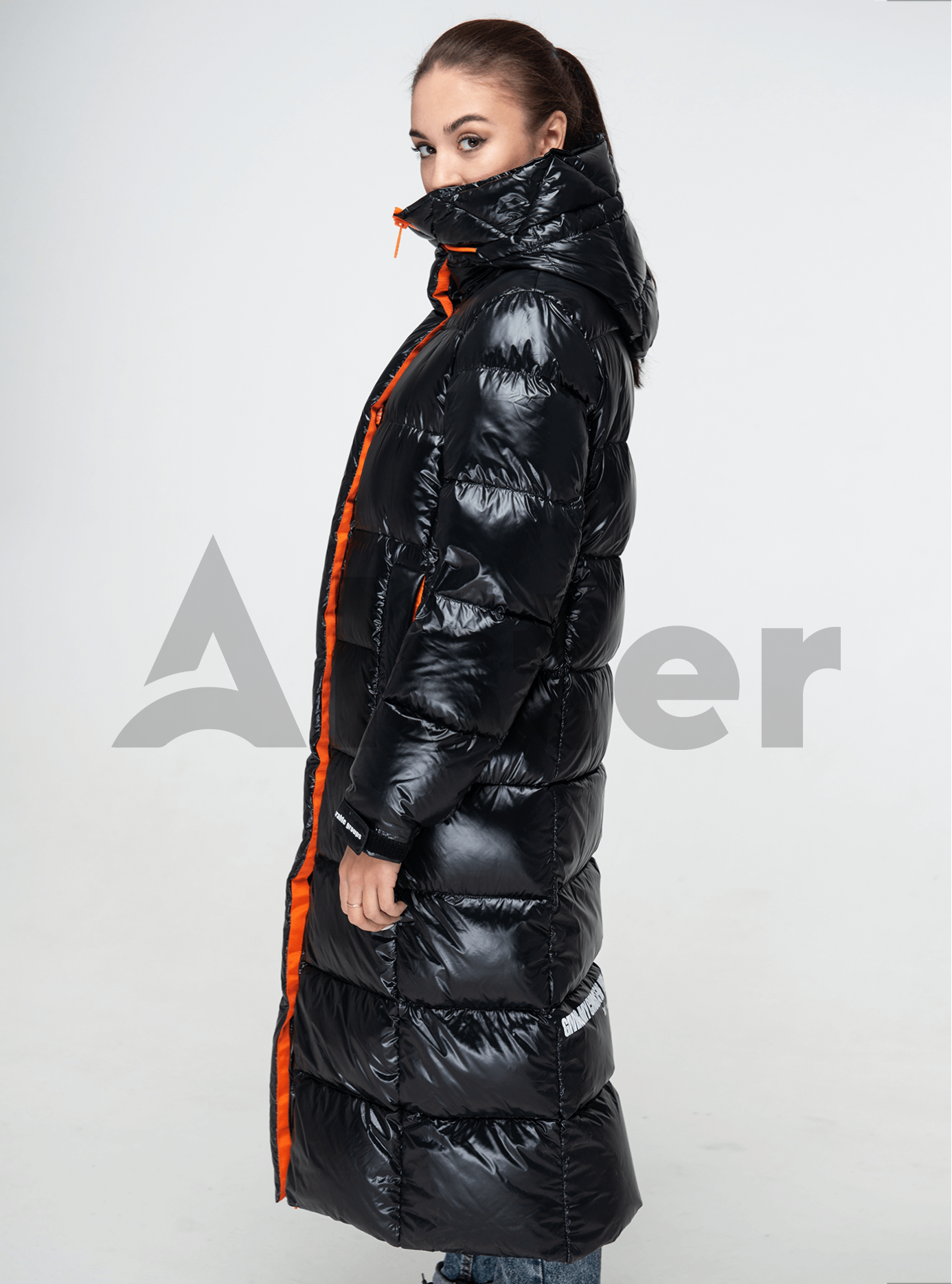 Пуховик женский длинный прямой Чёрный L (02-Y191104): фото - Alster.ua