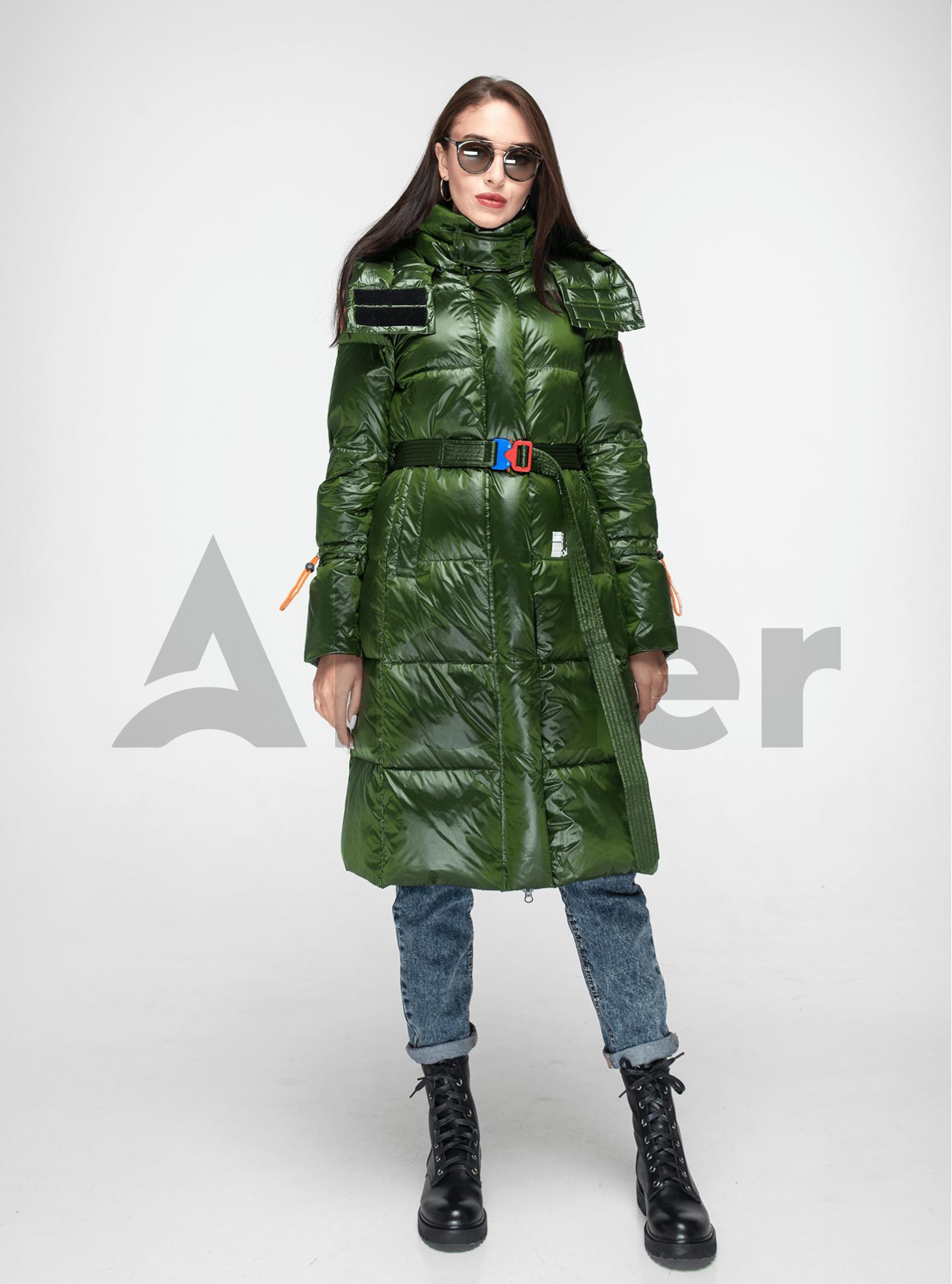 Пуховик женский длинный с поясом Зелёный S (02-Y191105): фото - Alster.ua
