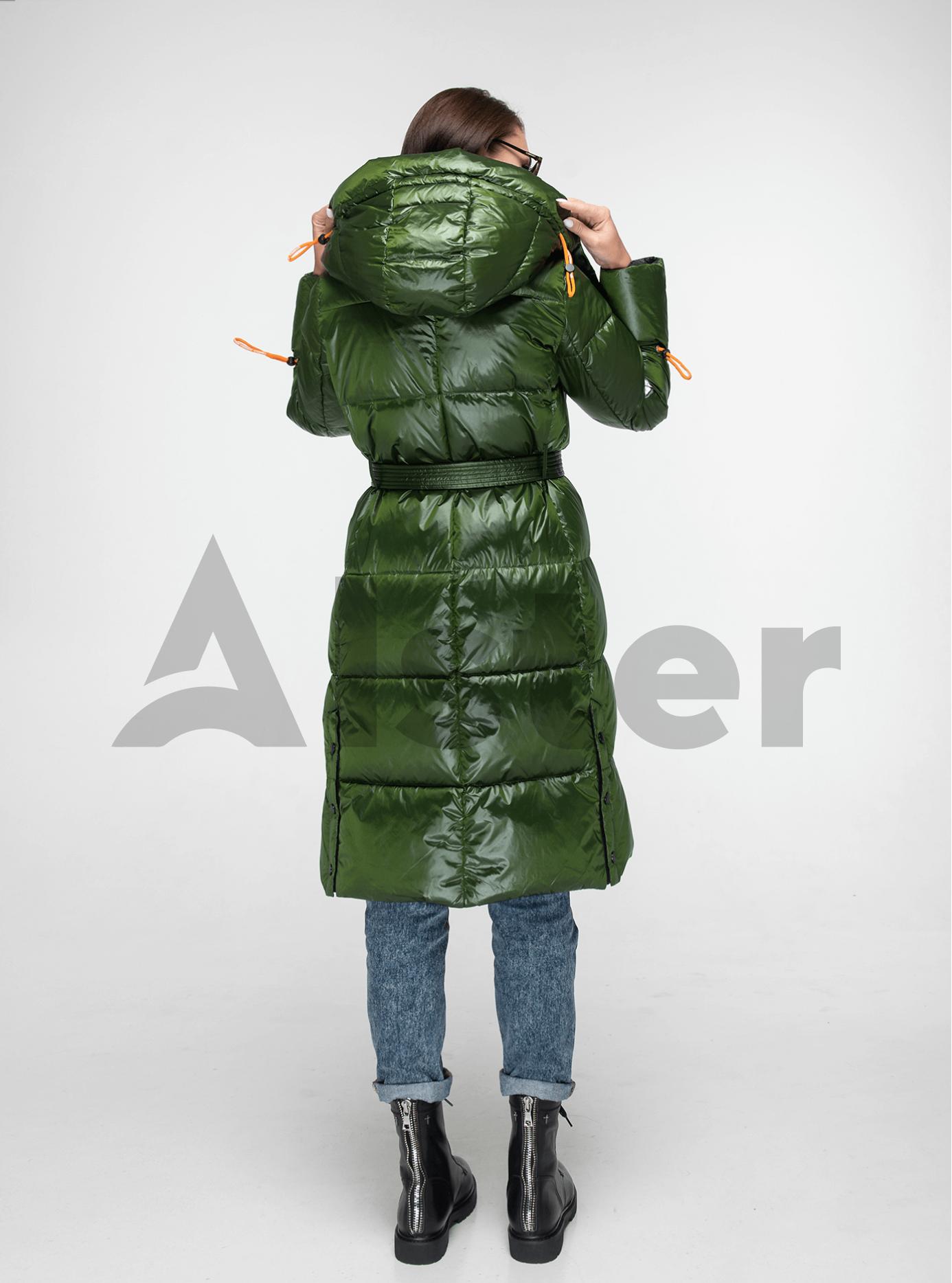 Пуховик женский длинный с поясом Зелёный L (02-Y191107): фото - Alster.ua