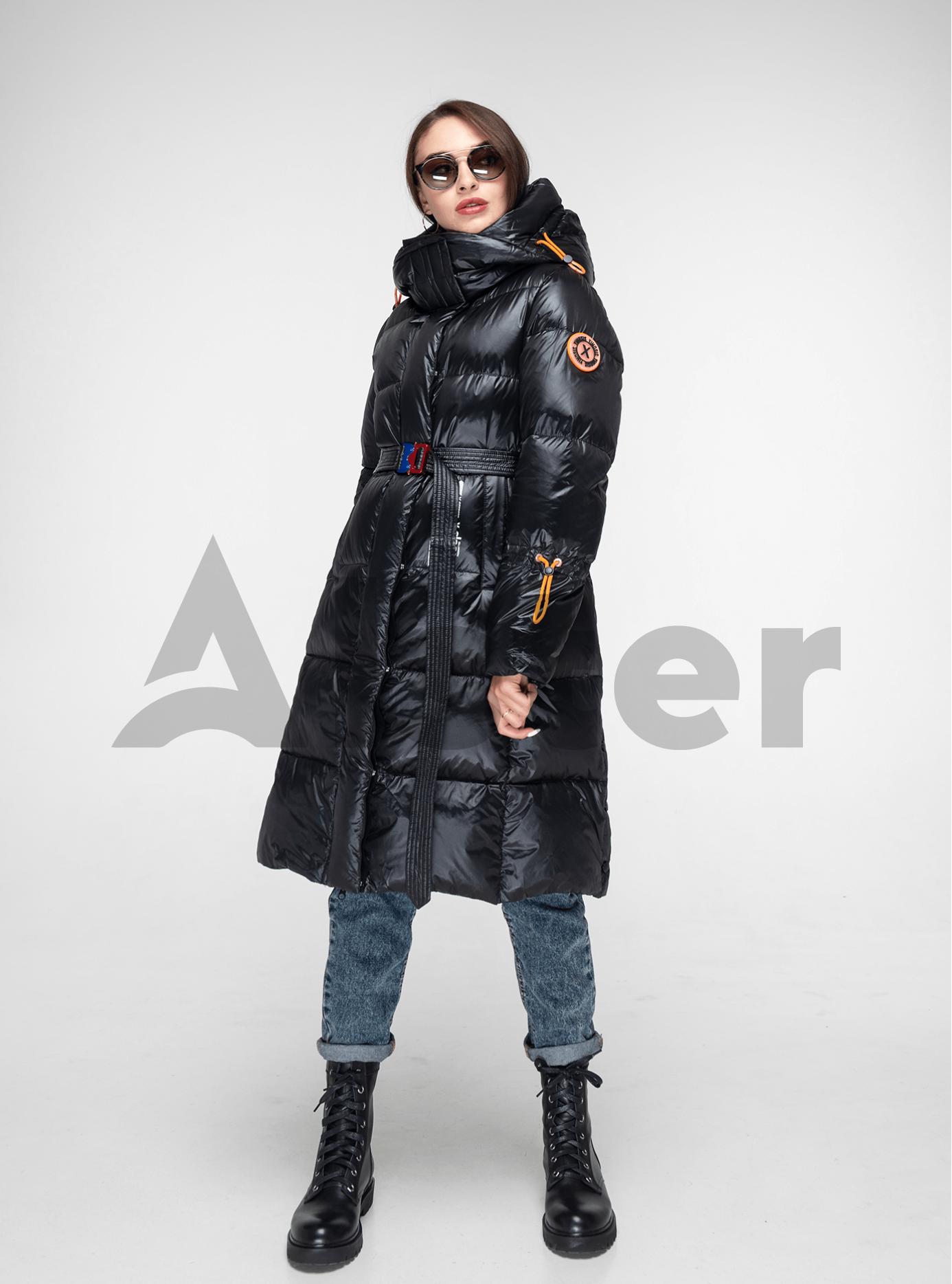 Пуховик женский длинный с поясом Чёрный M (02-Y191109): фото - Alster.ua