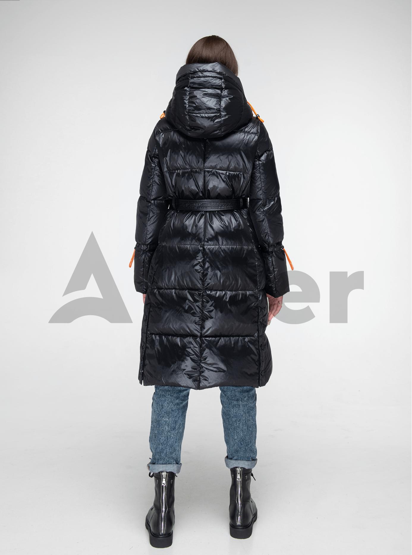 Пуховик женский длинный с поясом Чёрный L (02-Y191110): фото - Alster.ua