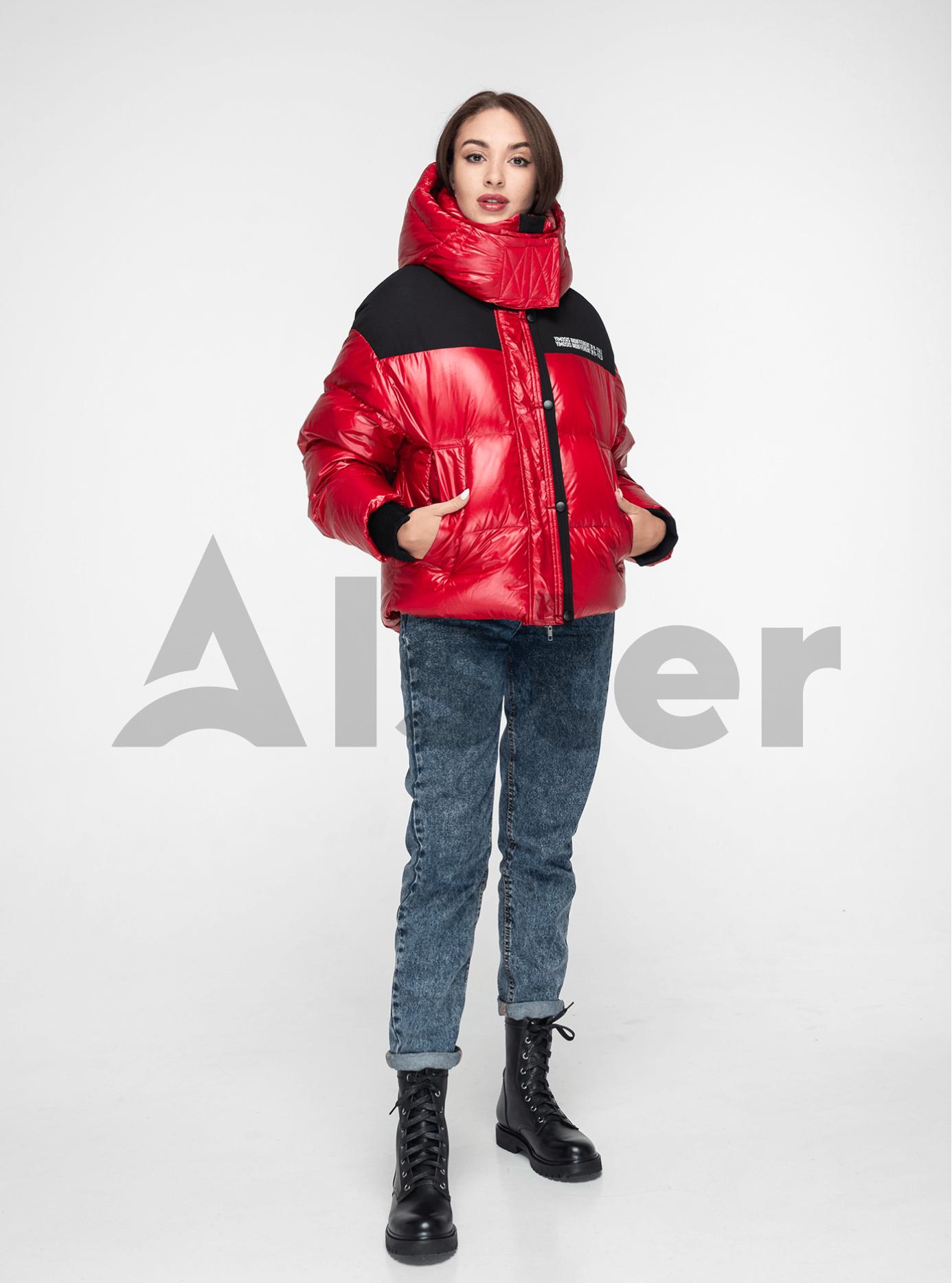 Пуховик женский короткий с капюшоном Красный M (02-Y191119): фото - Alster.ua