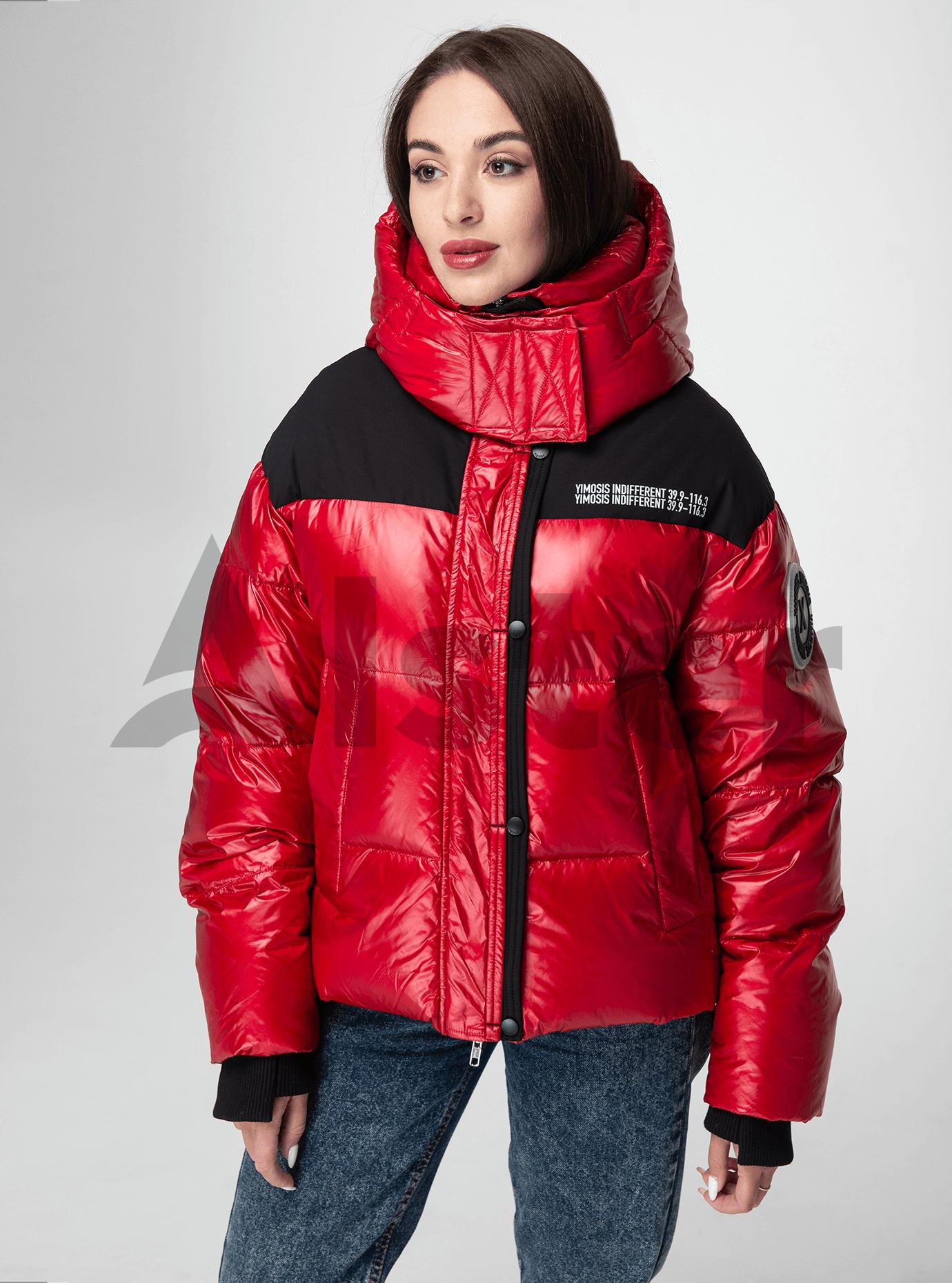 Пуховик женский короткий с капюшоном Красный L (02-Y191120): фото - Alster.ua