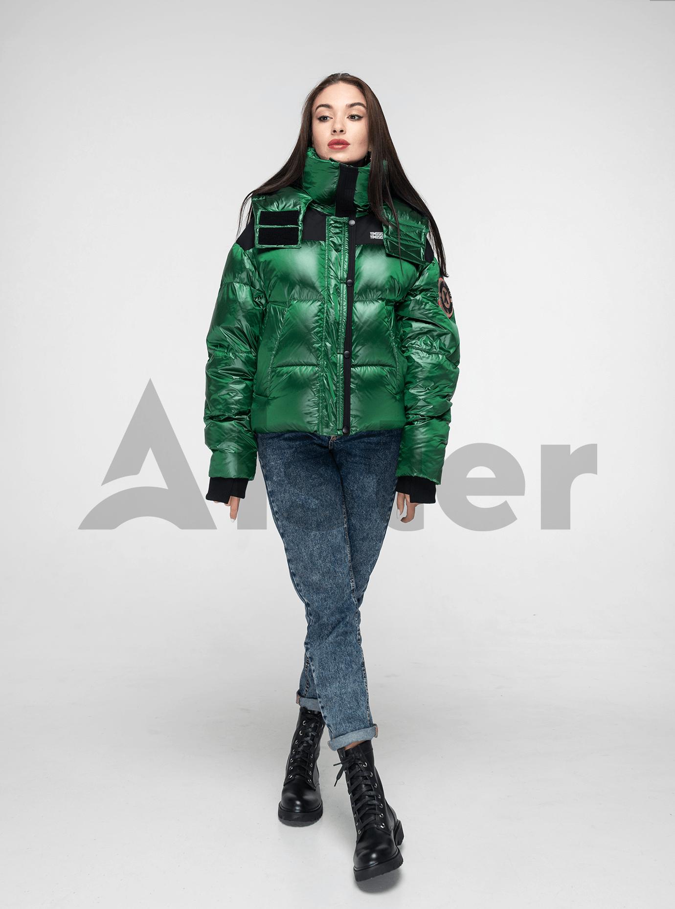 Пуховик женский короткий с капюшоном Зелёный S (02-Y191121): фото - Alster.ua