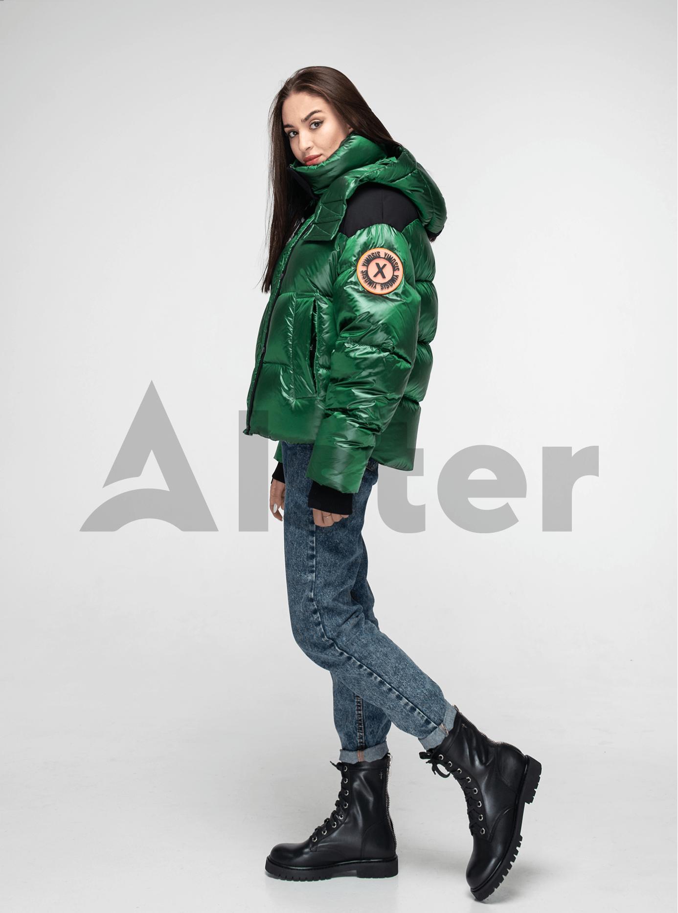 Пуховик женский короткий с капюшоном Зелёный L (02-Y191123): фото - Alster.ua