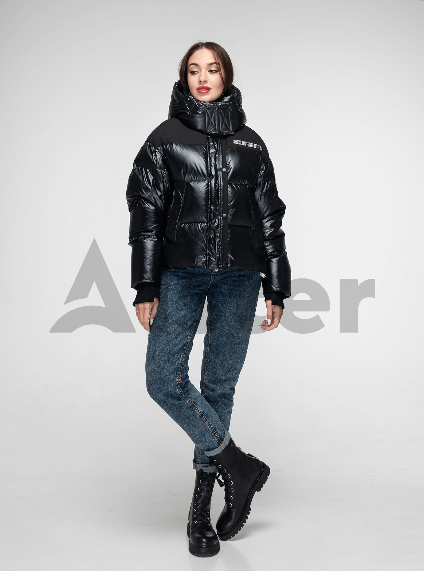 Пуховик женский короткий с капюшоном Чёрный L (02-Y191117): фото - Alster.ua