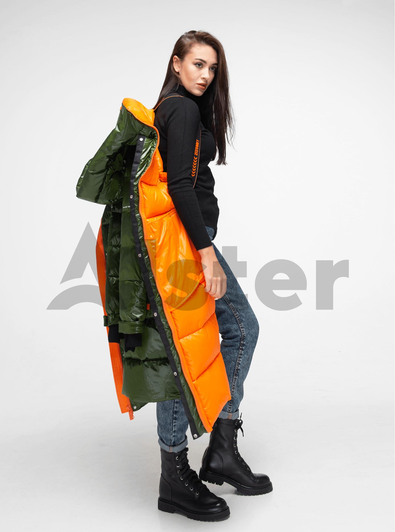 Пуховик женский длинный на молнии Зелёный M (02-Y191125): фото - Alster.ua