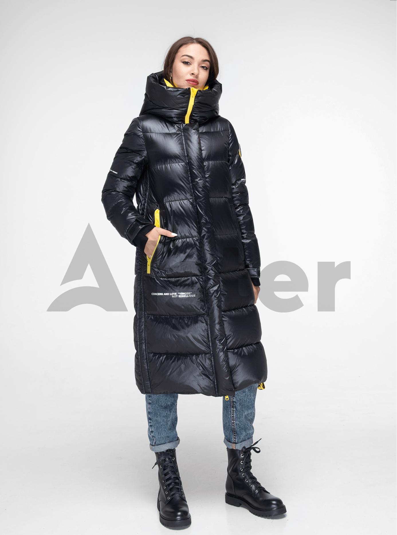 Пуховик женский длинный на молнии Чёрный M (02-Y191124): фото - Alster.ua