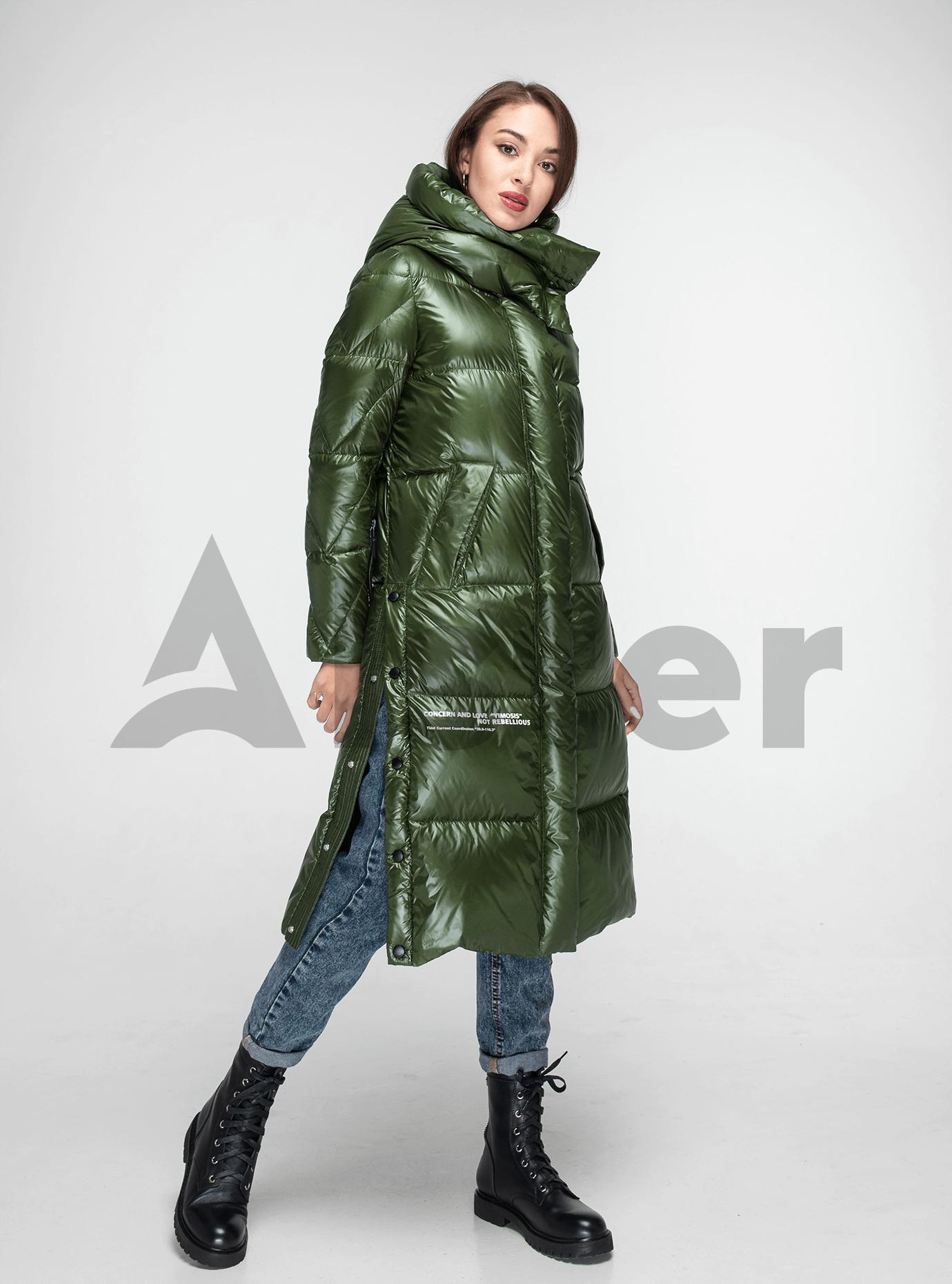 Пуховик женский длинный с разрезами Зелёный M (02-Y191127): фото - Alster.ua