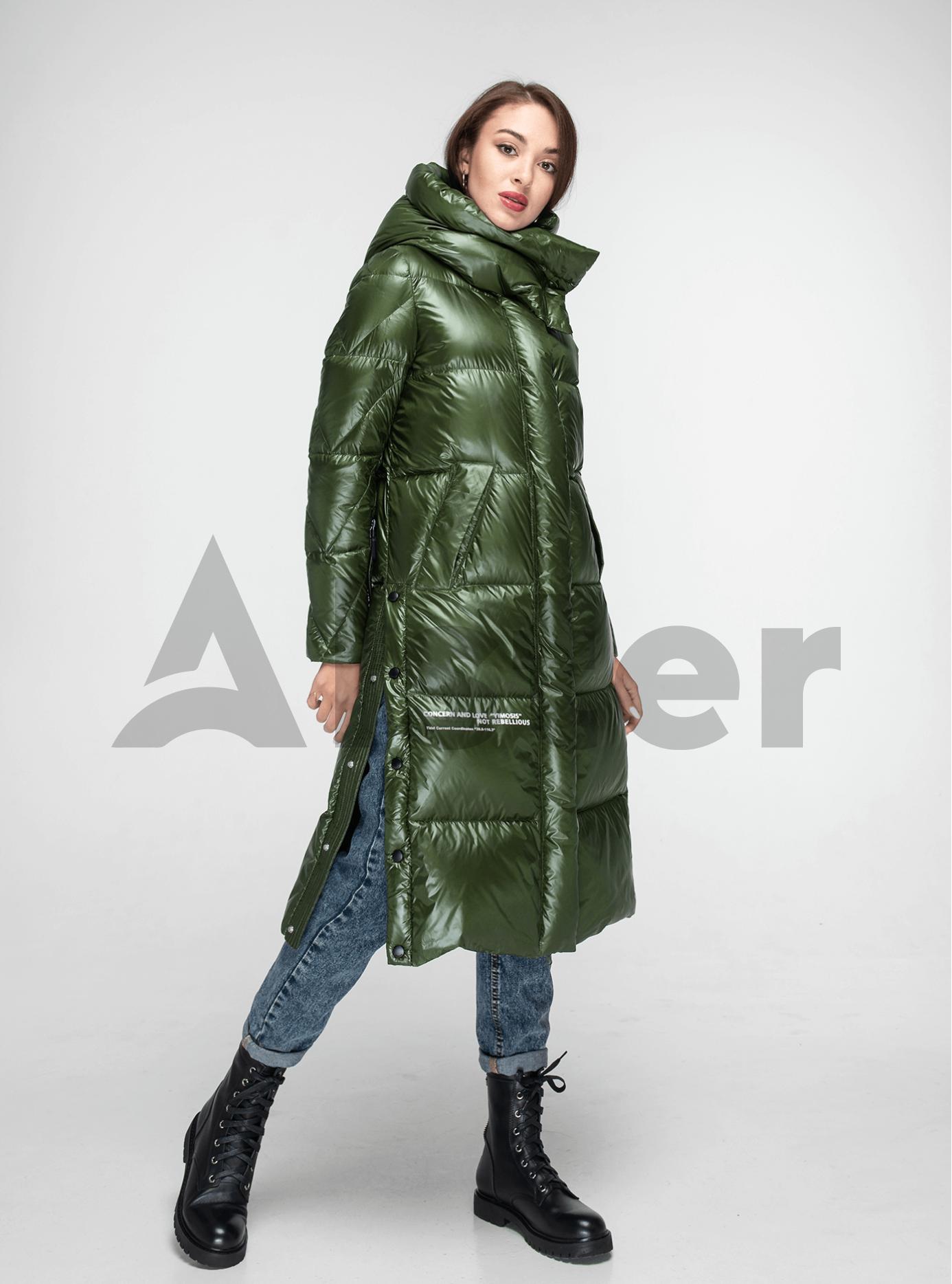 Пуховик женский длинный с разрезами Зелёный L (02-Y191128): фото - Alster.ua