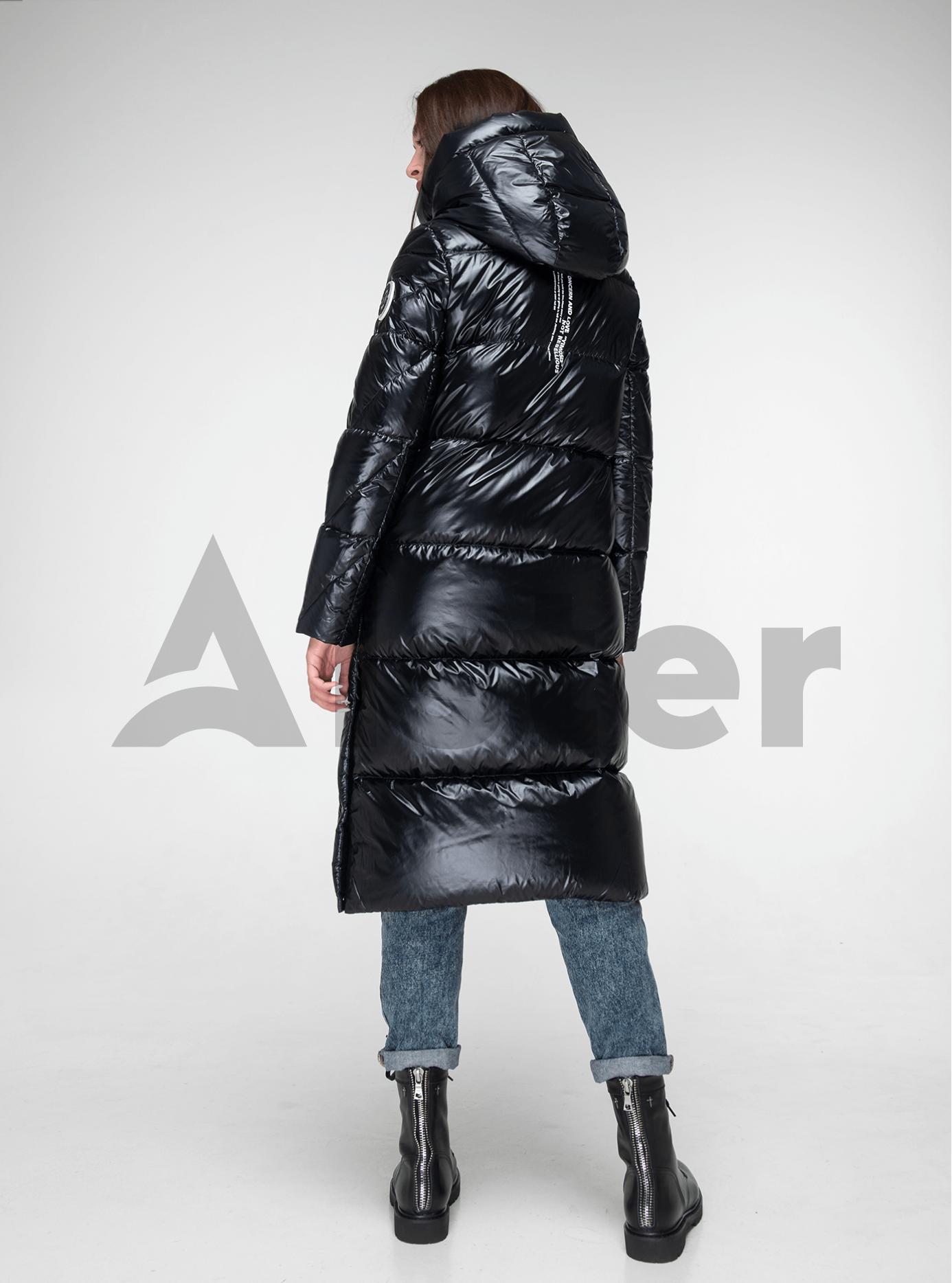 Пуховик женский длинный с разрезами Чёрный L (02-Y191129): фото - Alster.ua