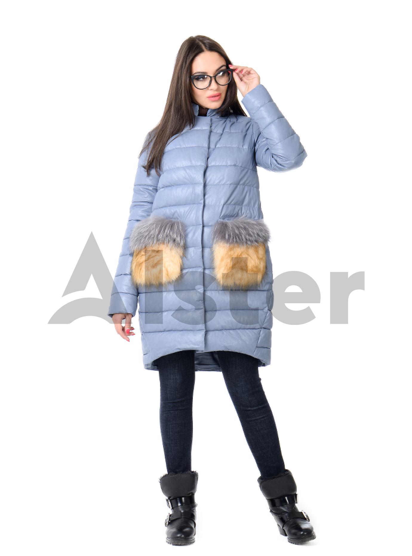 Куртка зимняя из искусственной кожи с мехом Голубой L (05-ZL2512): фото - Alster.ua