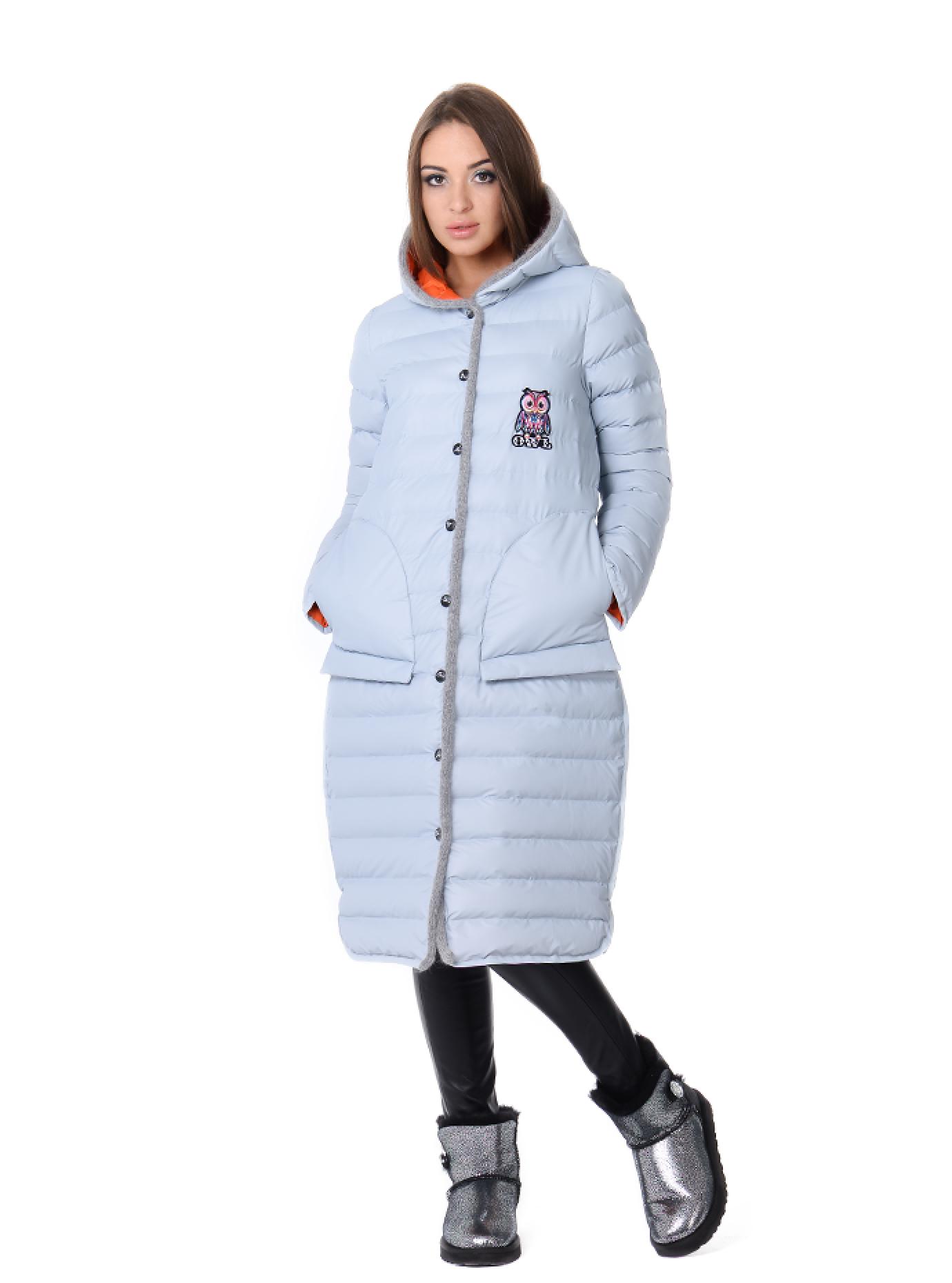 Куртка зимняя длинная стеганая Светло-голубой S (05-ZL2604): фото - Alster.ua
