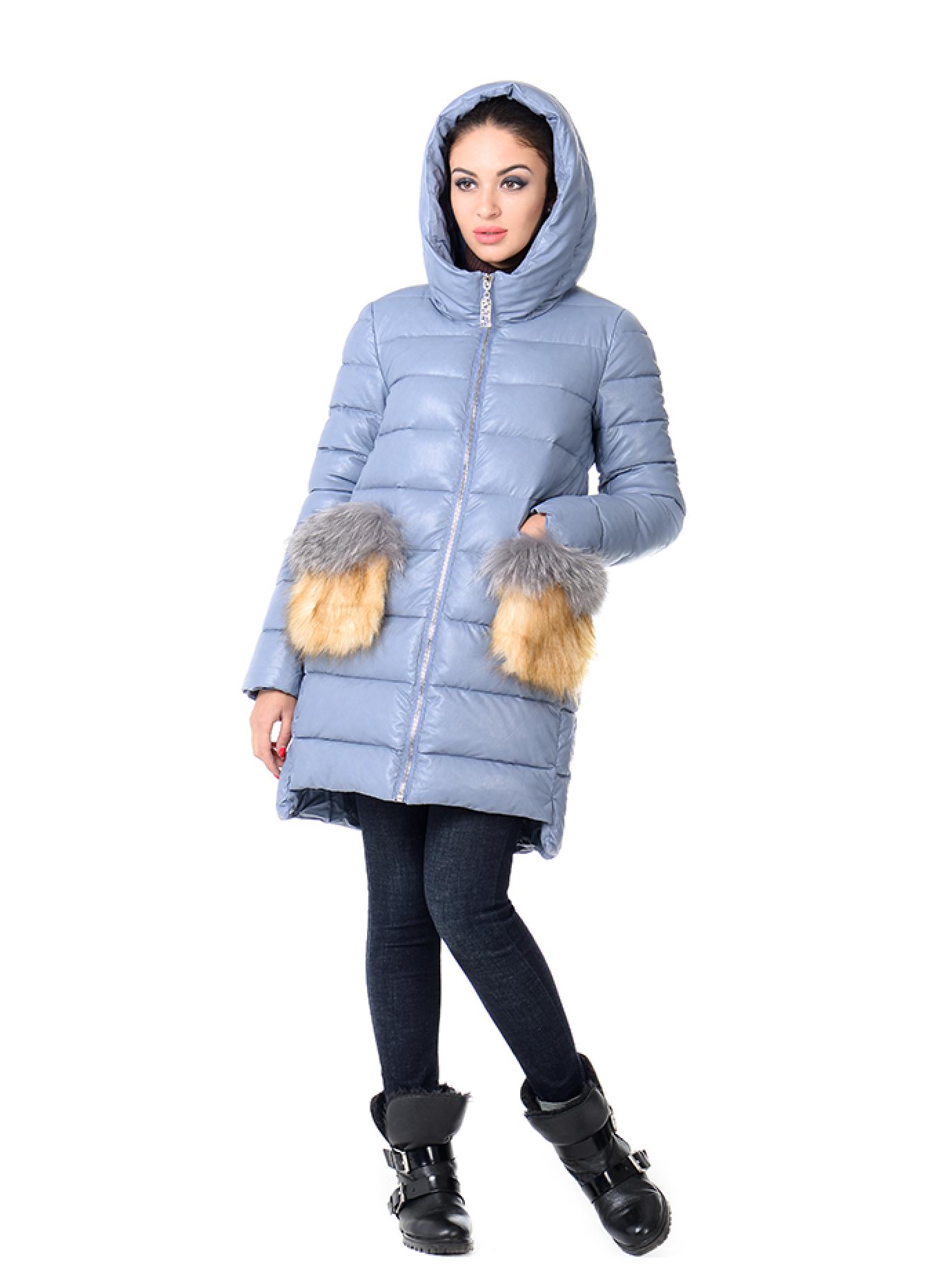Куртка зимняя на молнии с меховыми карманами Голубой XL (05-ZL2521): фото - Alster.ua
