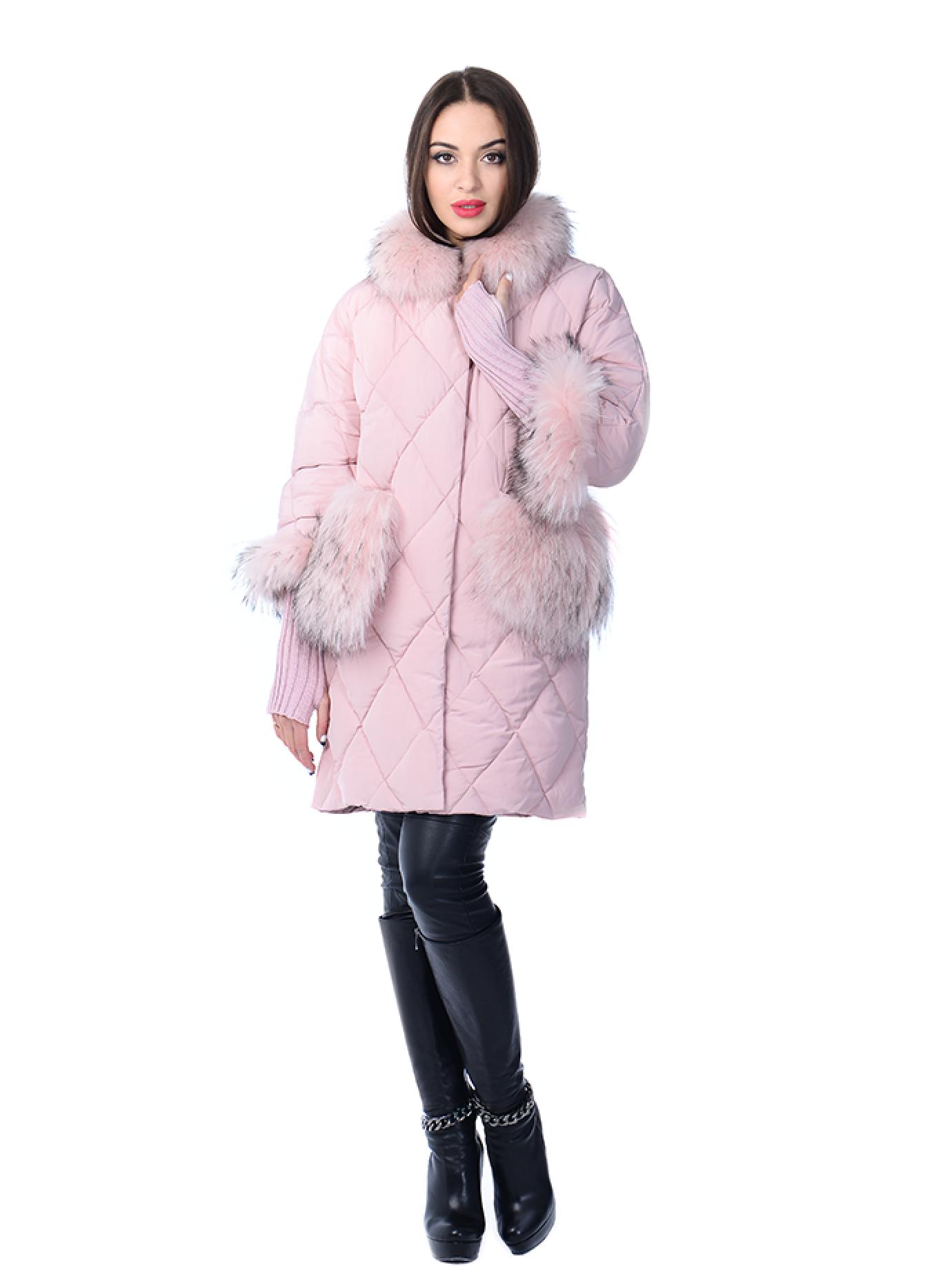 Куртка зимняя прямая с мехом енота Розовый S (05-ZL2592): фото - Alster.ua