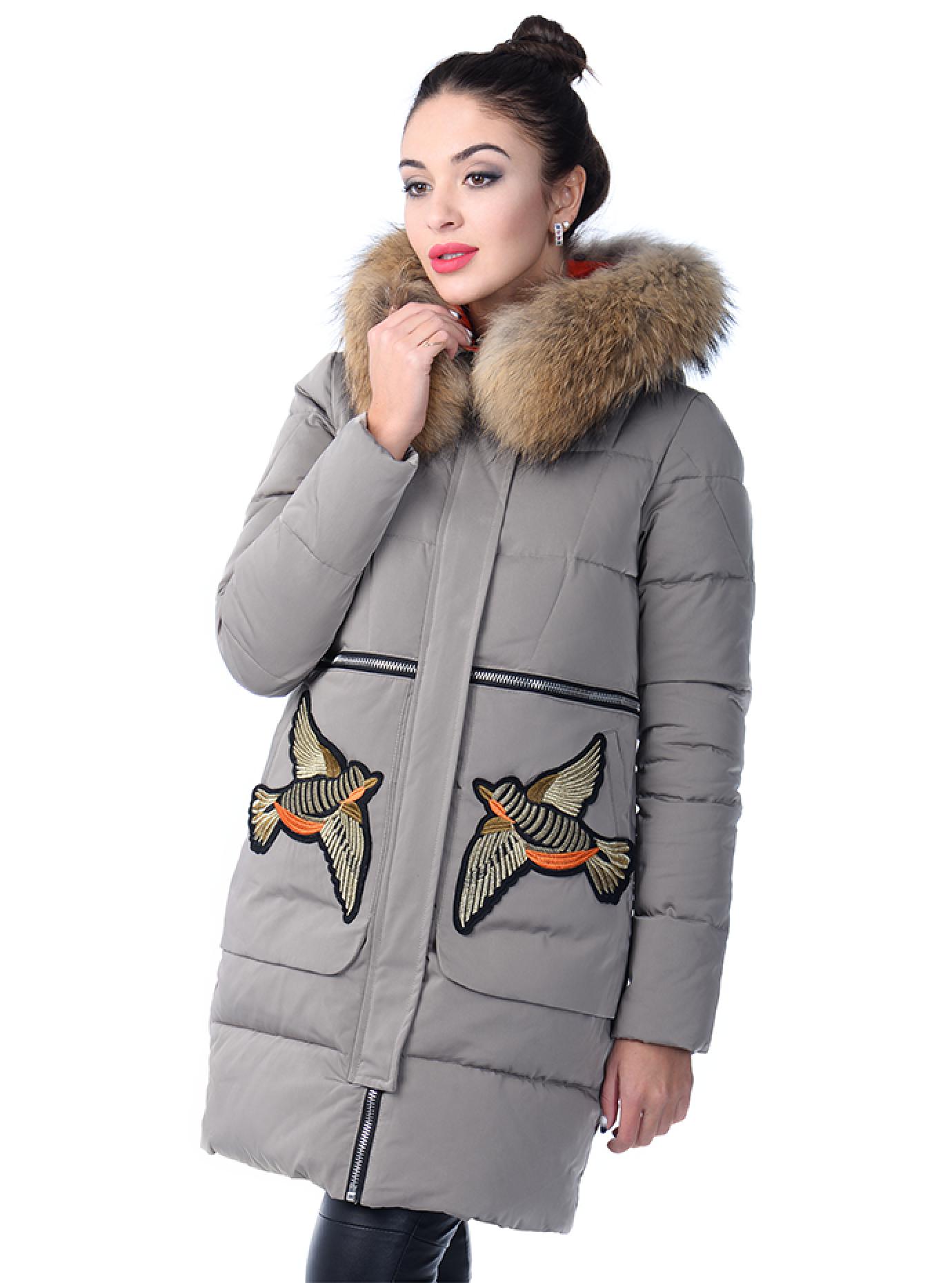 Зимняя парка с мехом енота и вышивкой Серый L (05-ZL2551): фото - Alster.ua