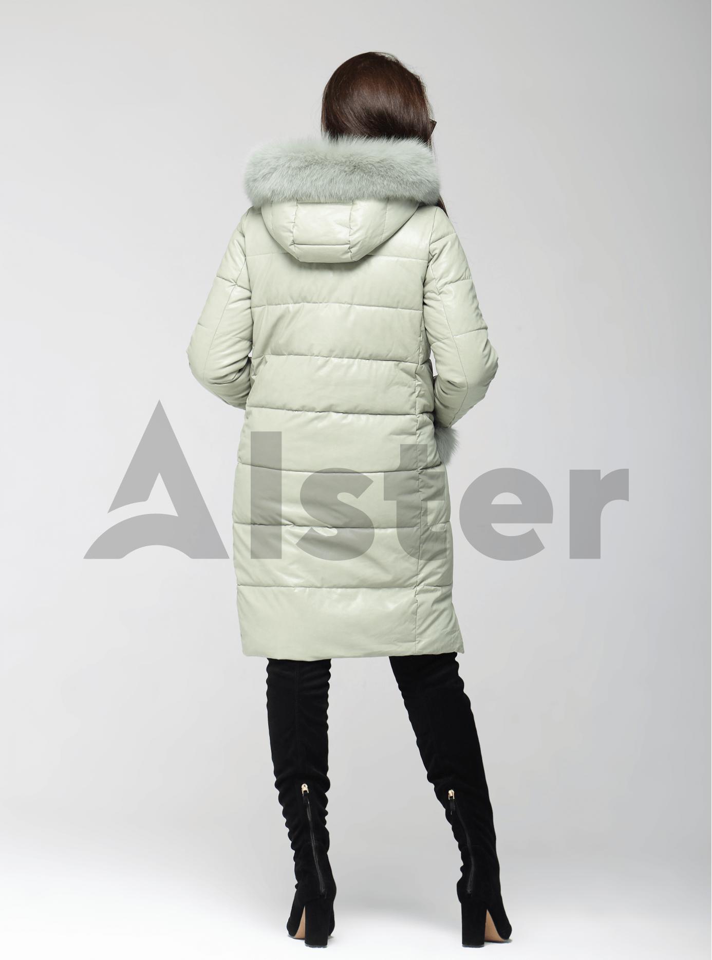 Куртка зимняя на молнии с мехом песца Светло-зелёный S (05-ZL2580): фото - Alster.ua