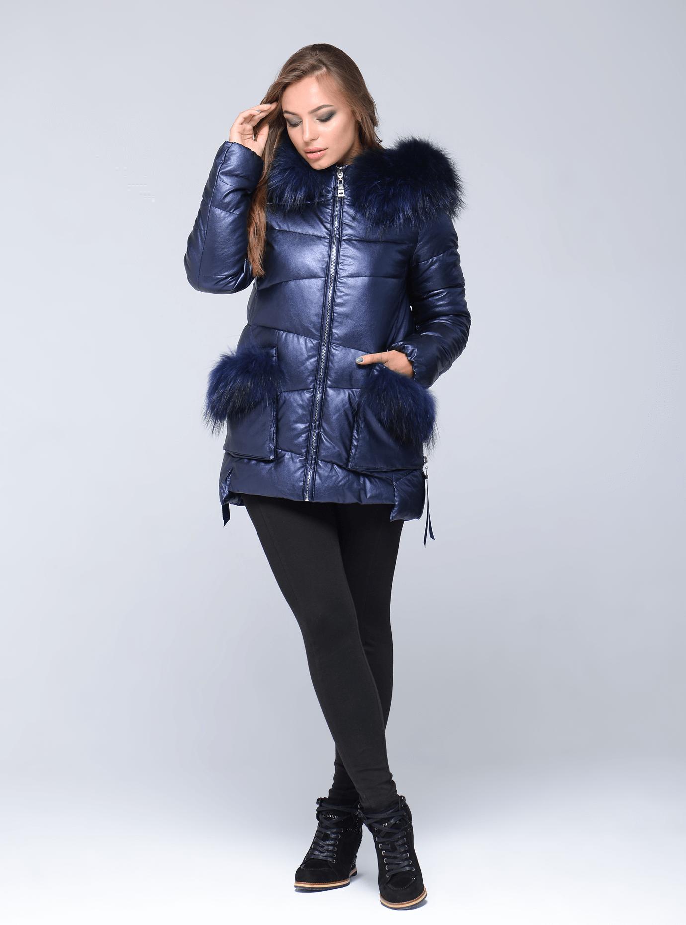 Куртка зимняя короткая с мехом енота Синий S (05-ZL2577): фото - Alster.ua