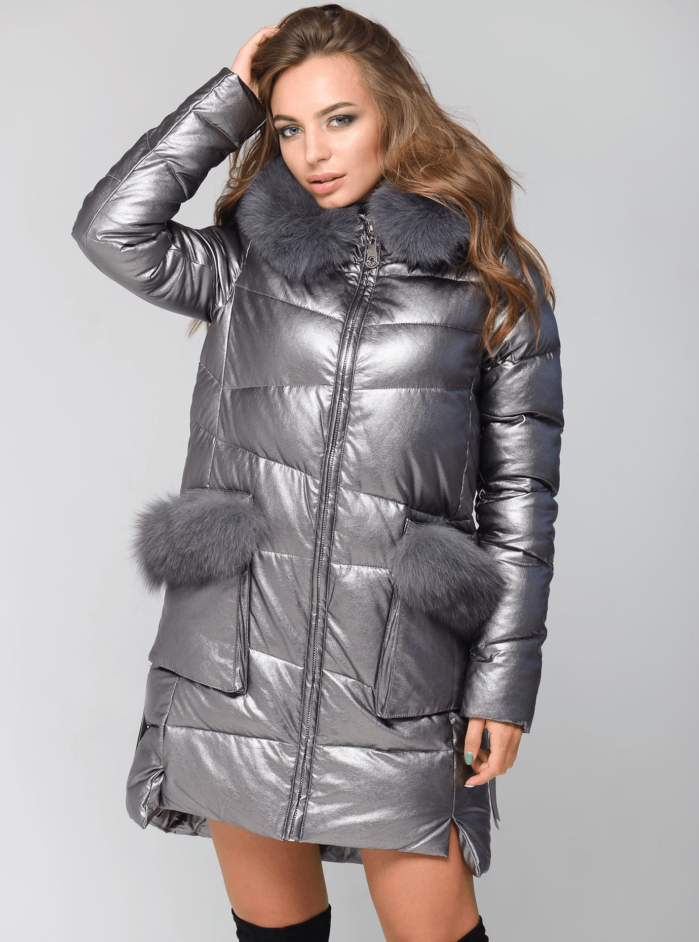 Куртка зимняя длинная с меховой отделкой из песца Серебряный S (05-ZL2578): фото - Alster.ua