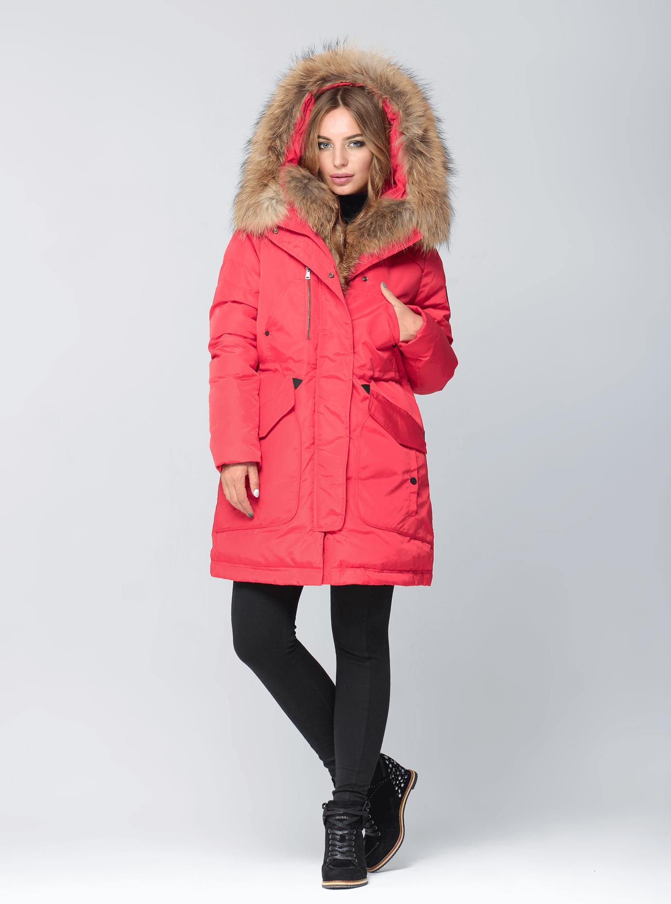 Куртка зимняя парка с мехом енота Красный S (05-ZL2600): фото - Alster.ua