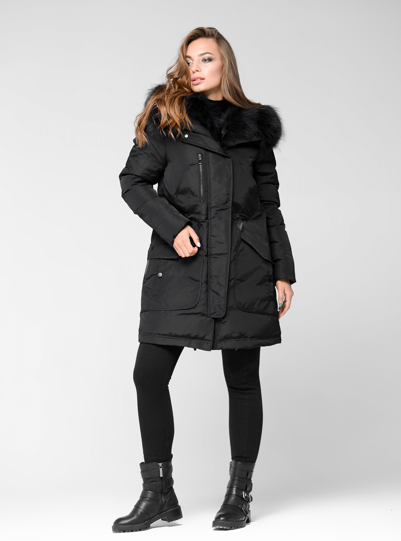 Куртка зимняя парка с мехом енота Чёрный XL (05-ZL2435): фото - Alster.ua