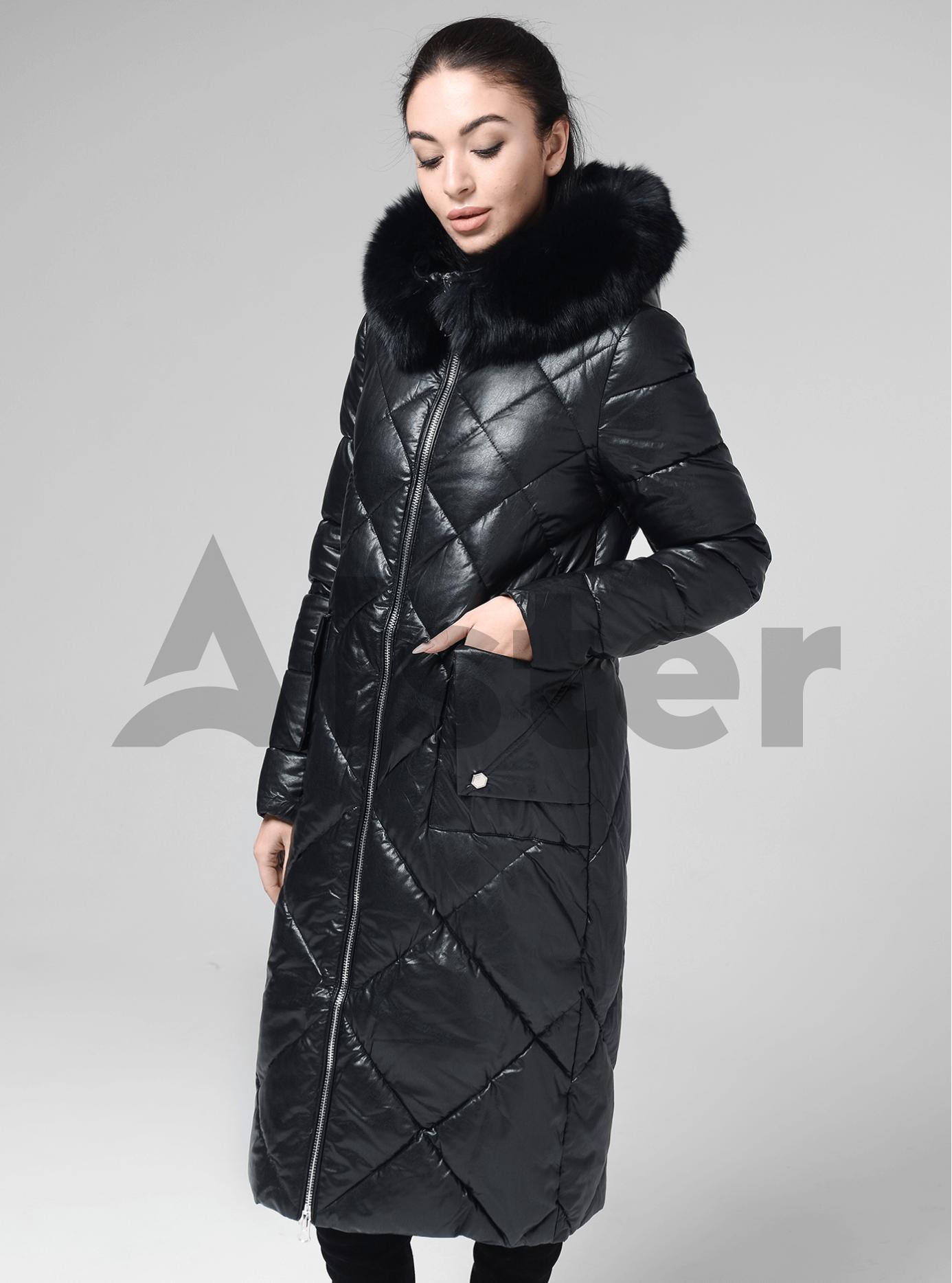 Куртка довга пряма з хутром песця на капюшоні Чорний L (05-ZL2124): фото - Alster.ua
