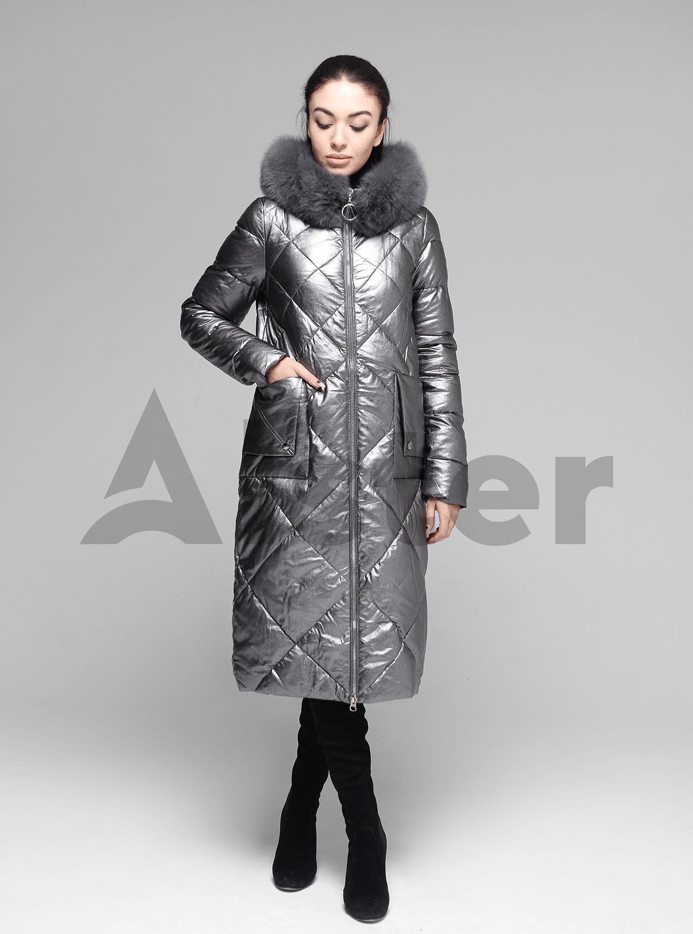 Куртка довга пряма з хутром песця на капюшоні Срібний S (05-ZL2125): фото - Alster.ua