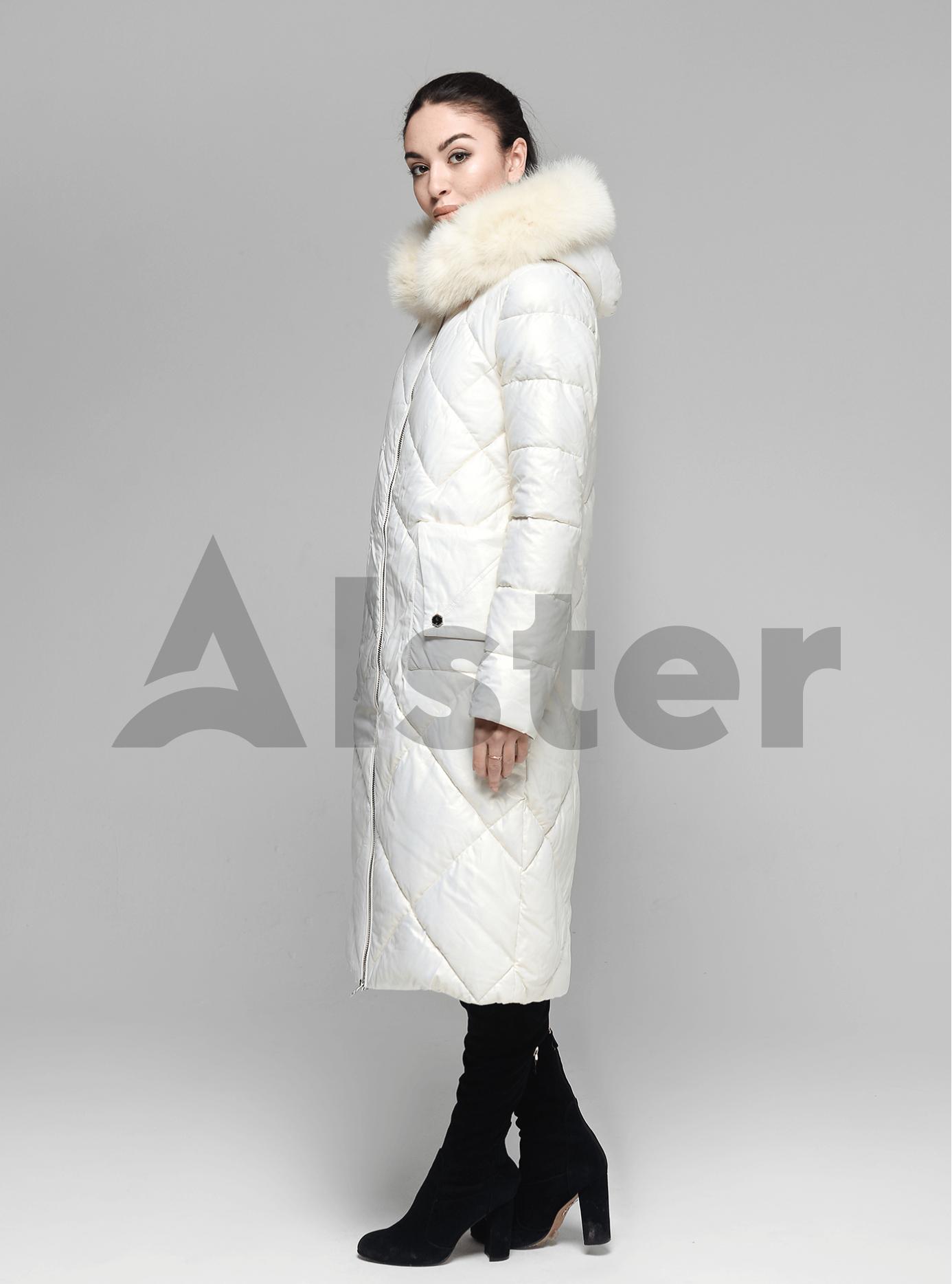 Куртка довга пряма з хутром песця на капюшоні Молочний S (05-ZL2133): фото - Alster.ua