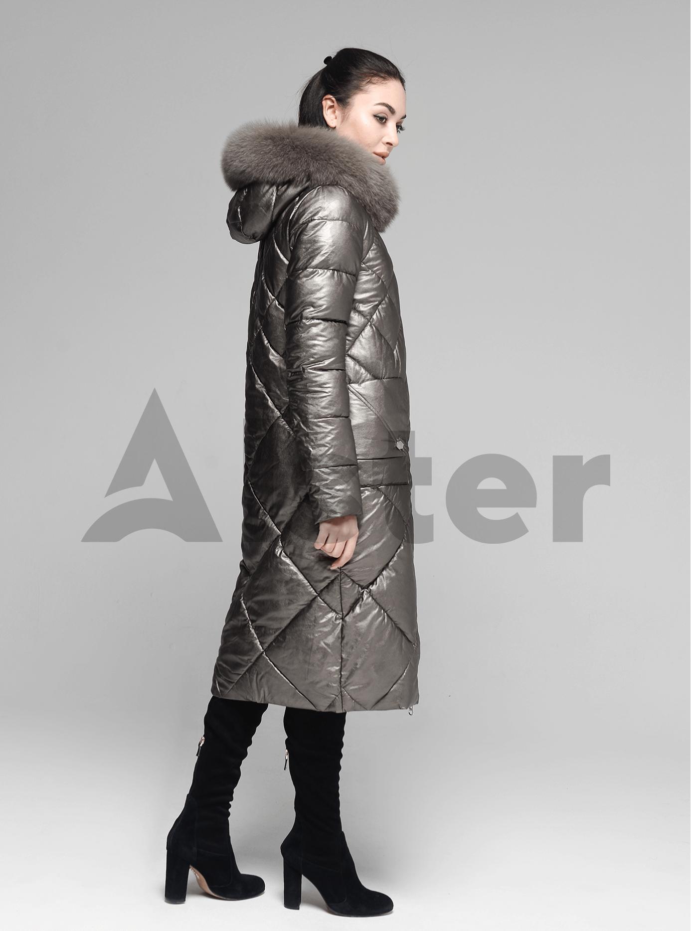 Куртка довга пряма з хутром песця на капюшоні Коричневий S (05-ZL2129): фото - Alster.ua