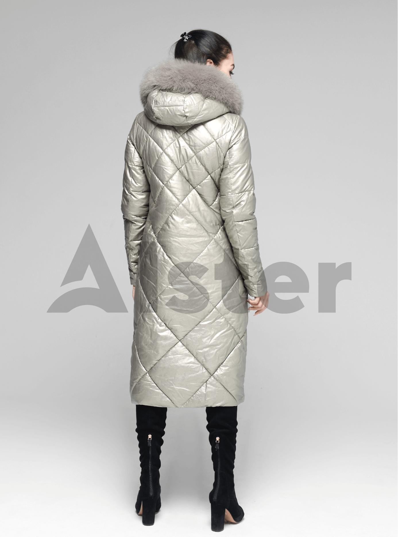 Куртка довга пряма з хутром песця на капюшоні Світло-срібний S (05-ZL2138): фото - Alster.ua