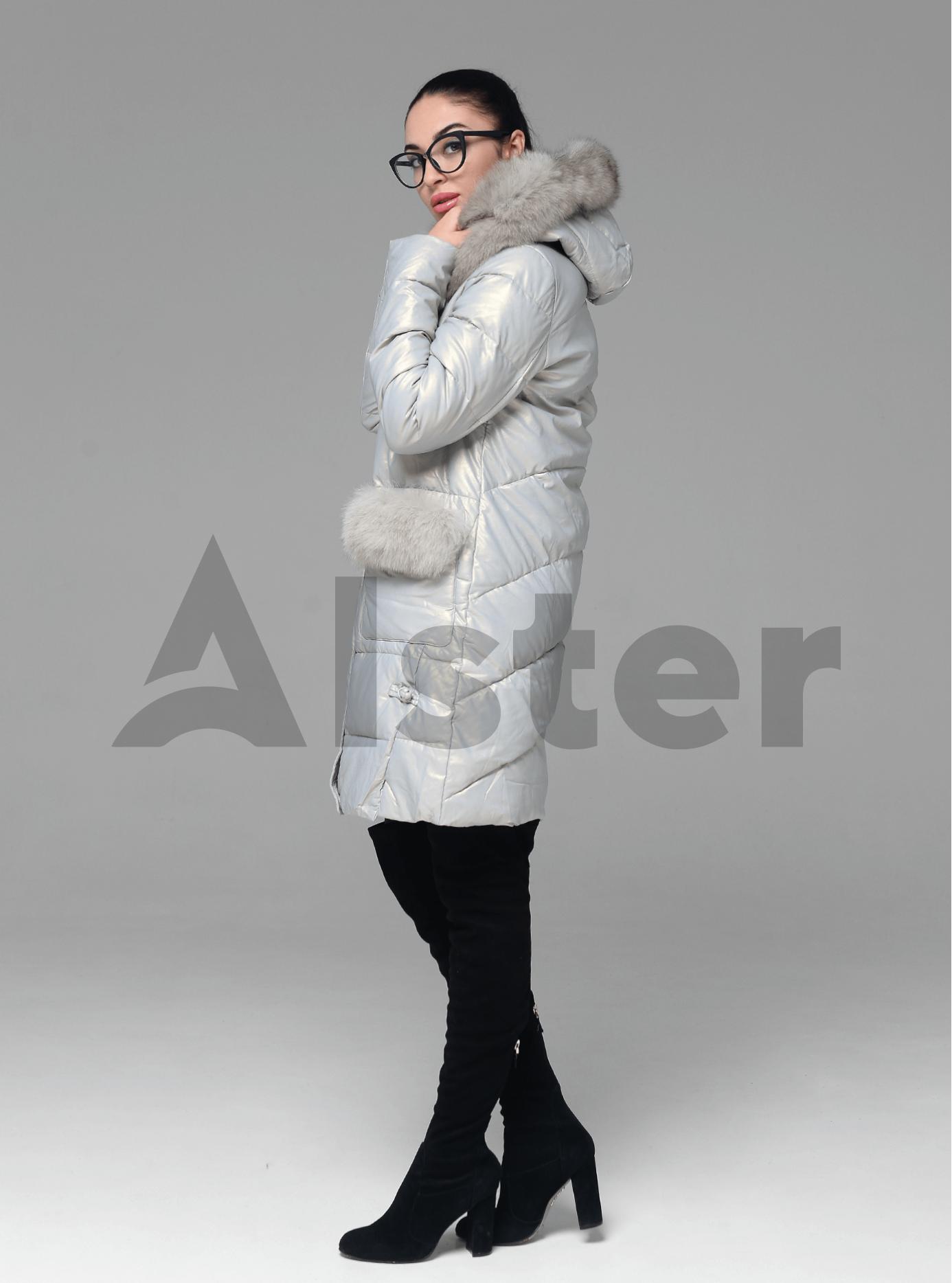 Куртка зимова пряма з хутром песця Світло-сірий 6XL (05-ZL2160): фото - Alster.ua