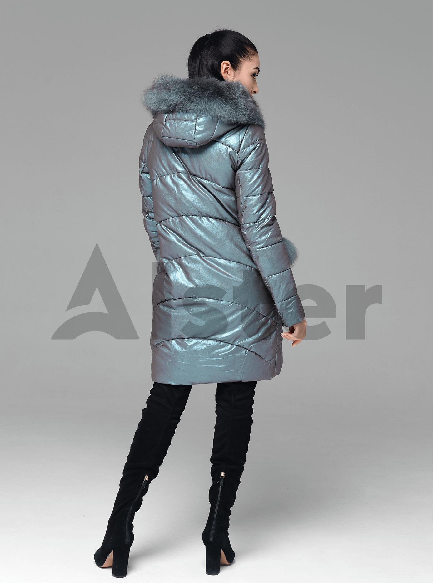 Куртка зимова пряма з хутром песця Бірюзовий S (05-ZL2149): фото - Alster.ua