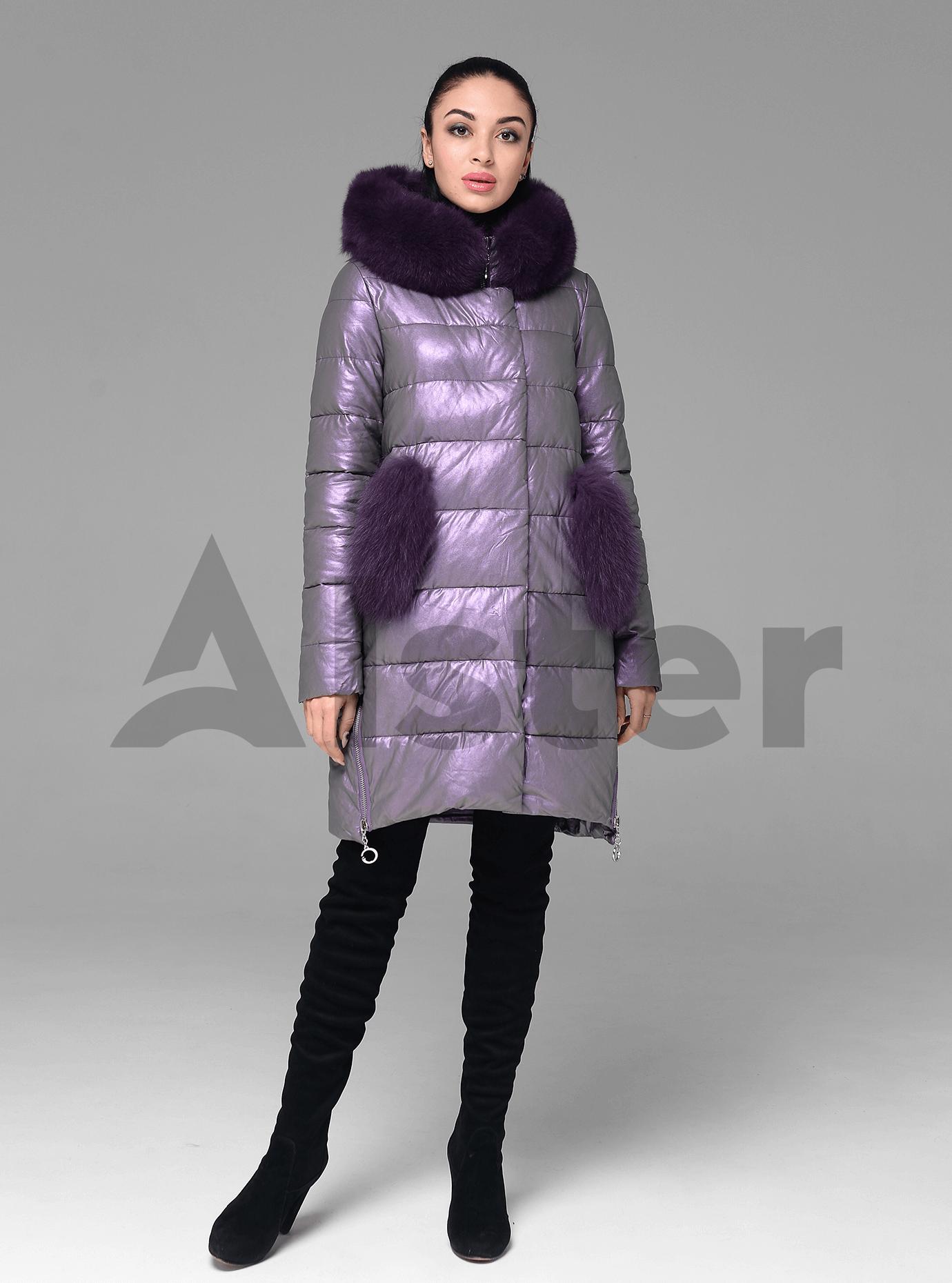 Куртка зимова стьобана з хутром песця Бузковий M (05-ZL2188): фото - Alster.ua