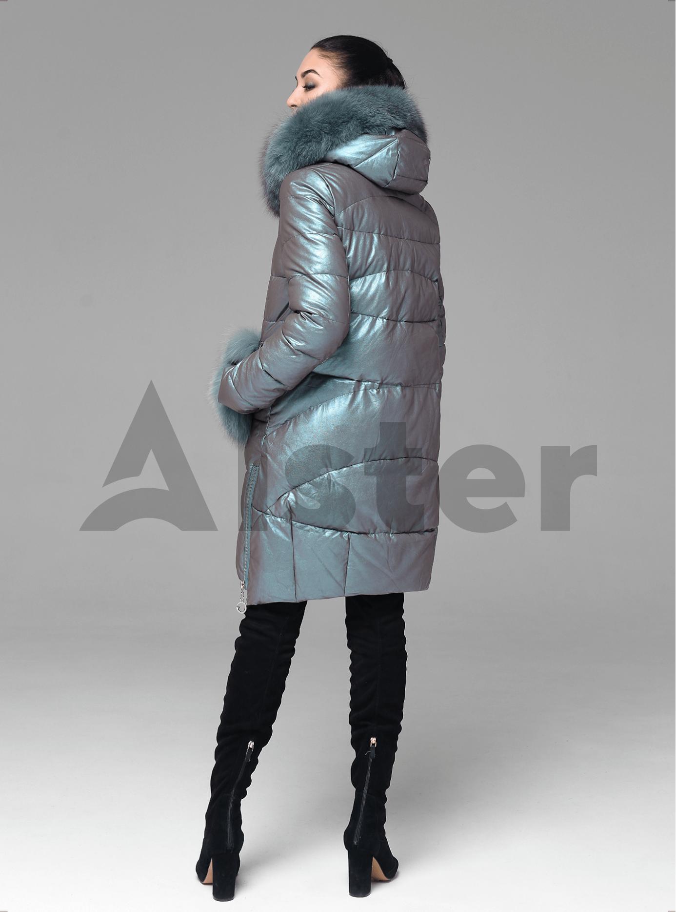 Куртка зимова стьобана з хутром песця Бірюзовий XL (05-ZL2194): фото - Alster.ua