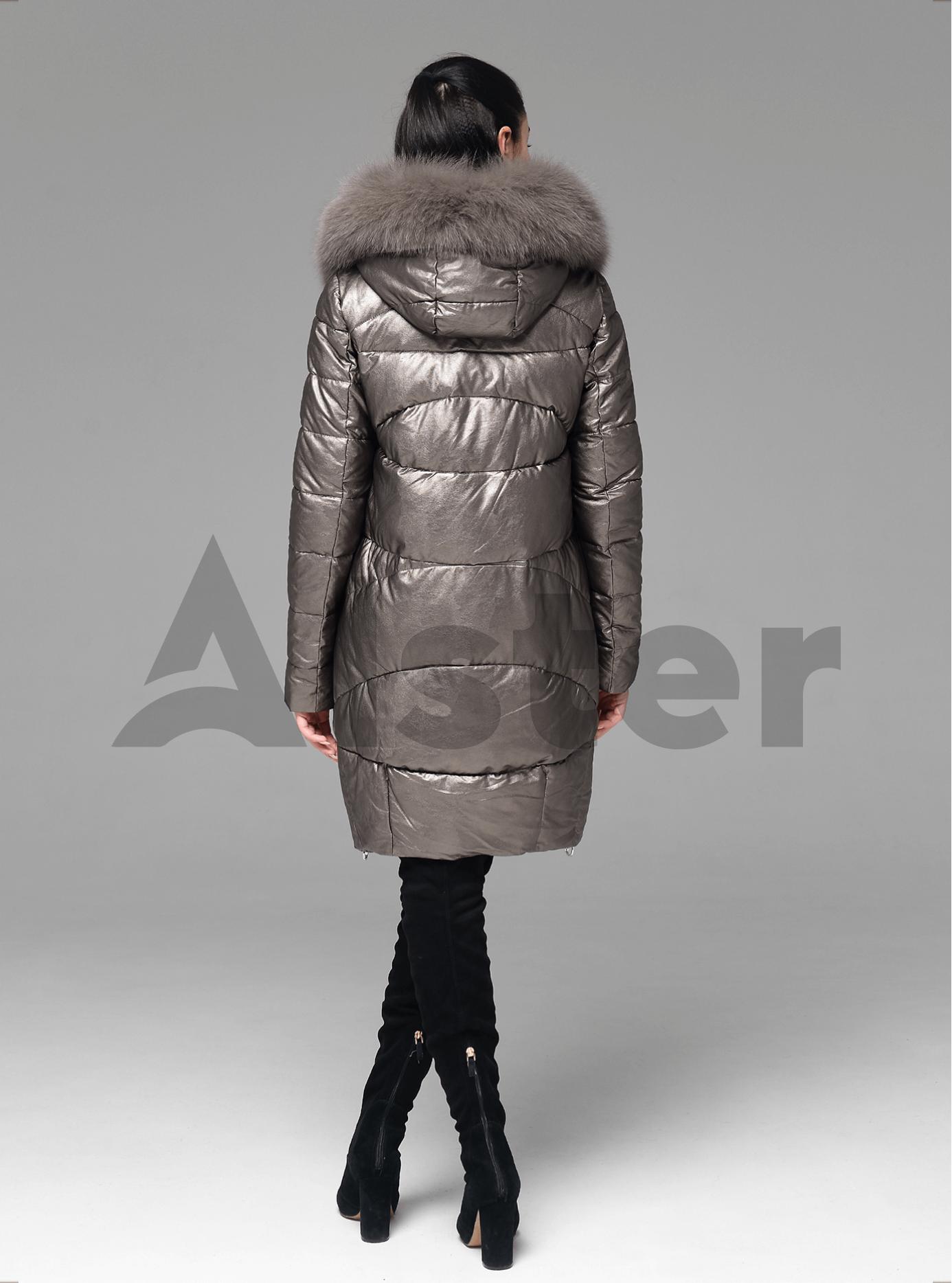 Куртка зимняя стеганая с мехом песца Коричневый 2XL (05-ZL2184): фото - Alster.ua