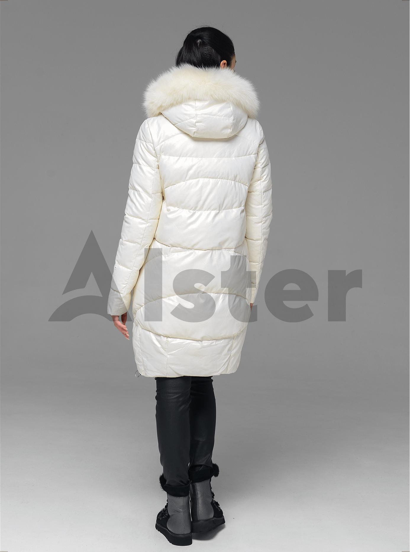 Куртка зимова стьобана з хутром песця Молочний 2XL (05-ZL2186): фото - Alster.ua