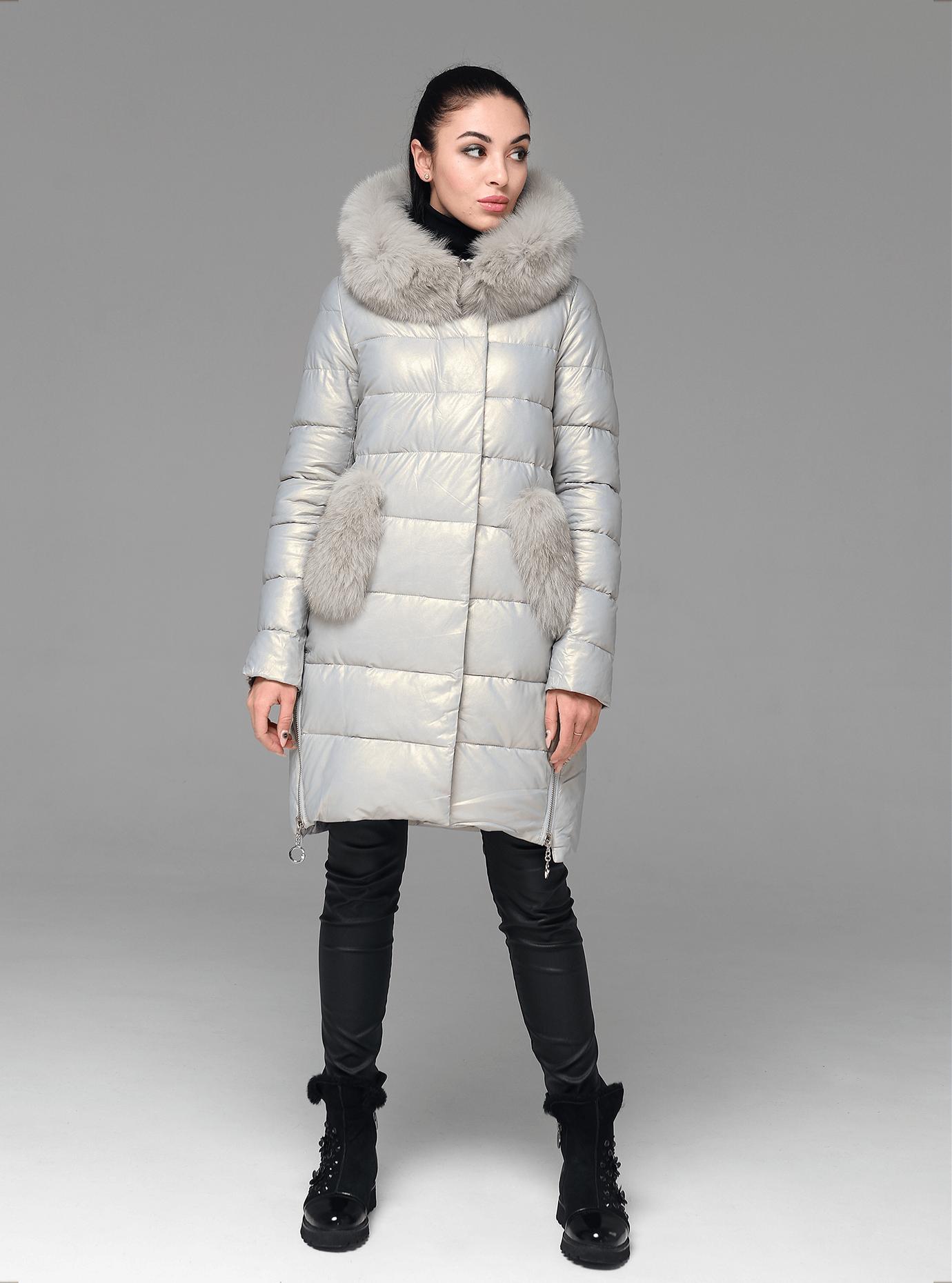 Куртка зимова стьобана з хутром песця Світло-сірий XL (05-ZL2195): фото - Alster.ua