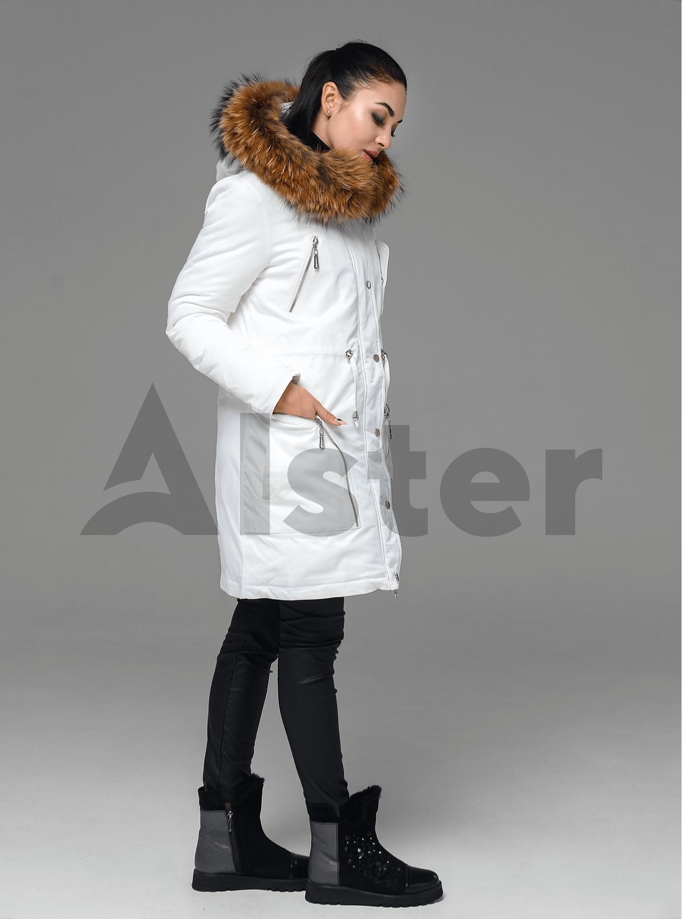 Куртка зимняя с отделкой из меха енота Белый S (05-ZL2198): фото - Alster.ua